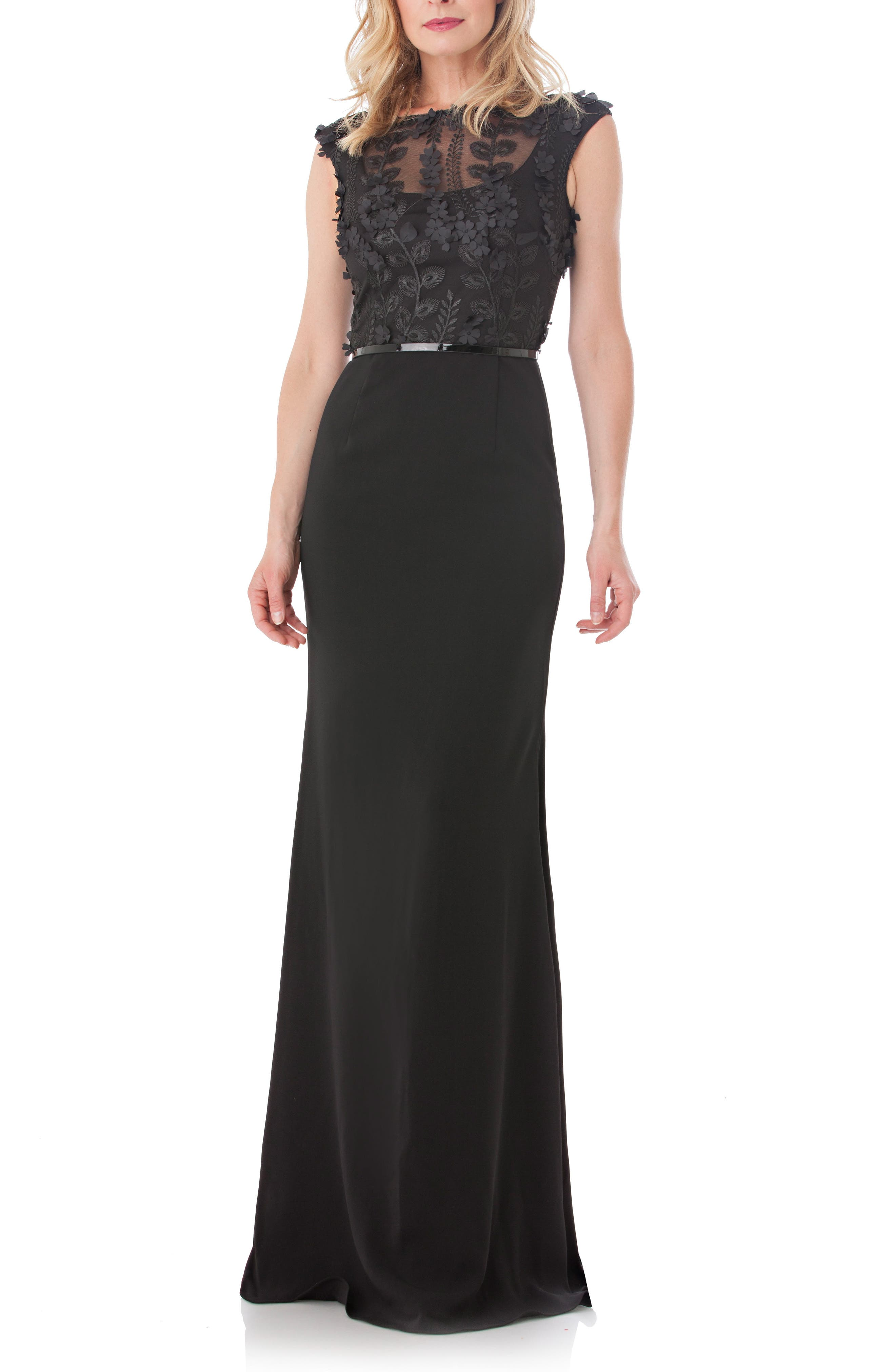 Embroidered Bodice Crepe Gown,                             Main thumbnail 1, color,                             Black
