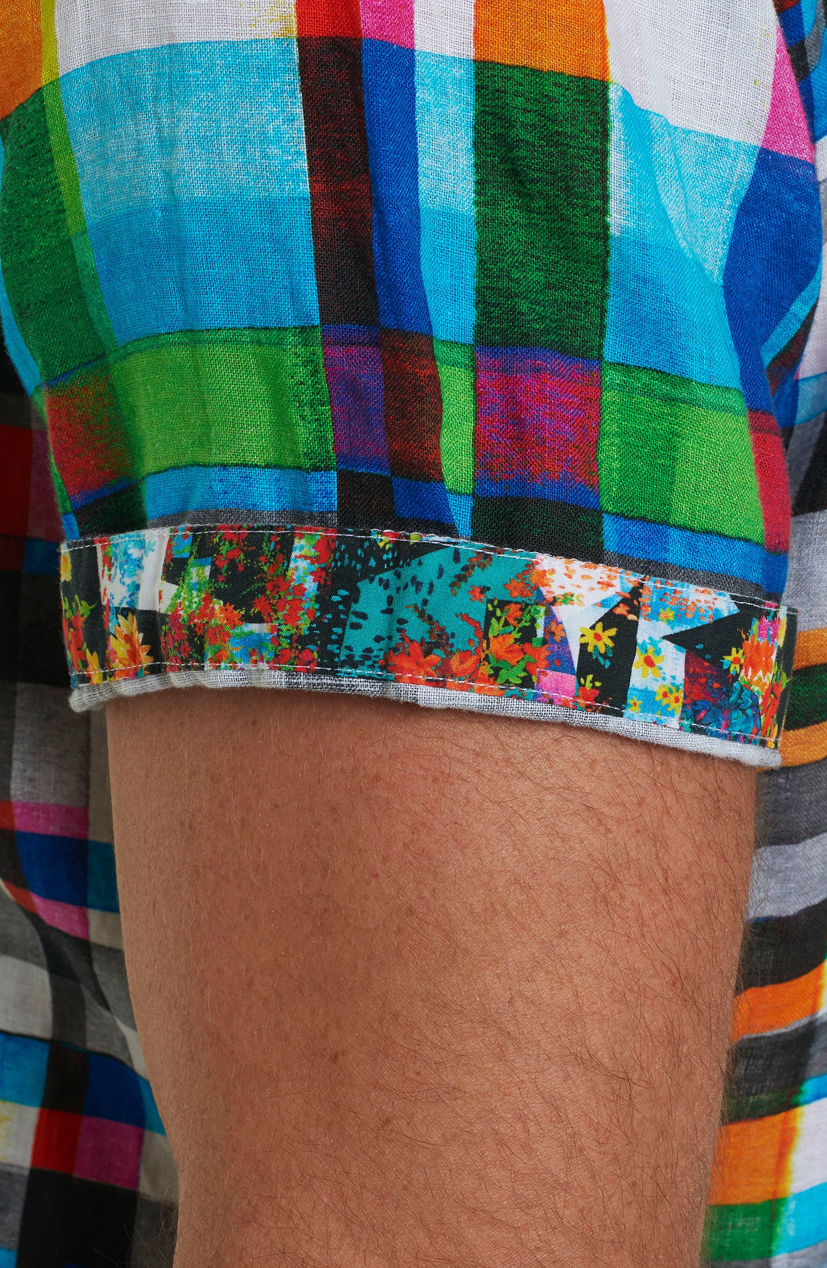 Hula Plaid Classic Fit Linen Sport Shirt,                             Alternate thumbnail 5, color,                             Turquoise