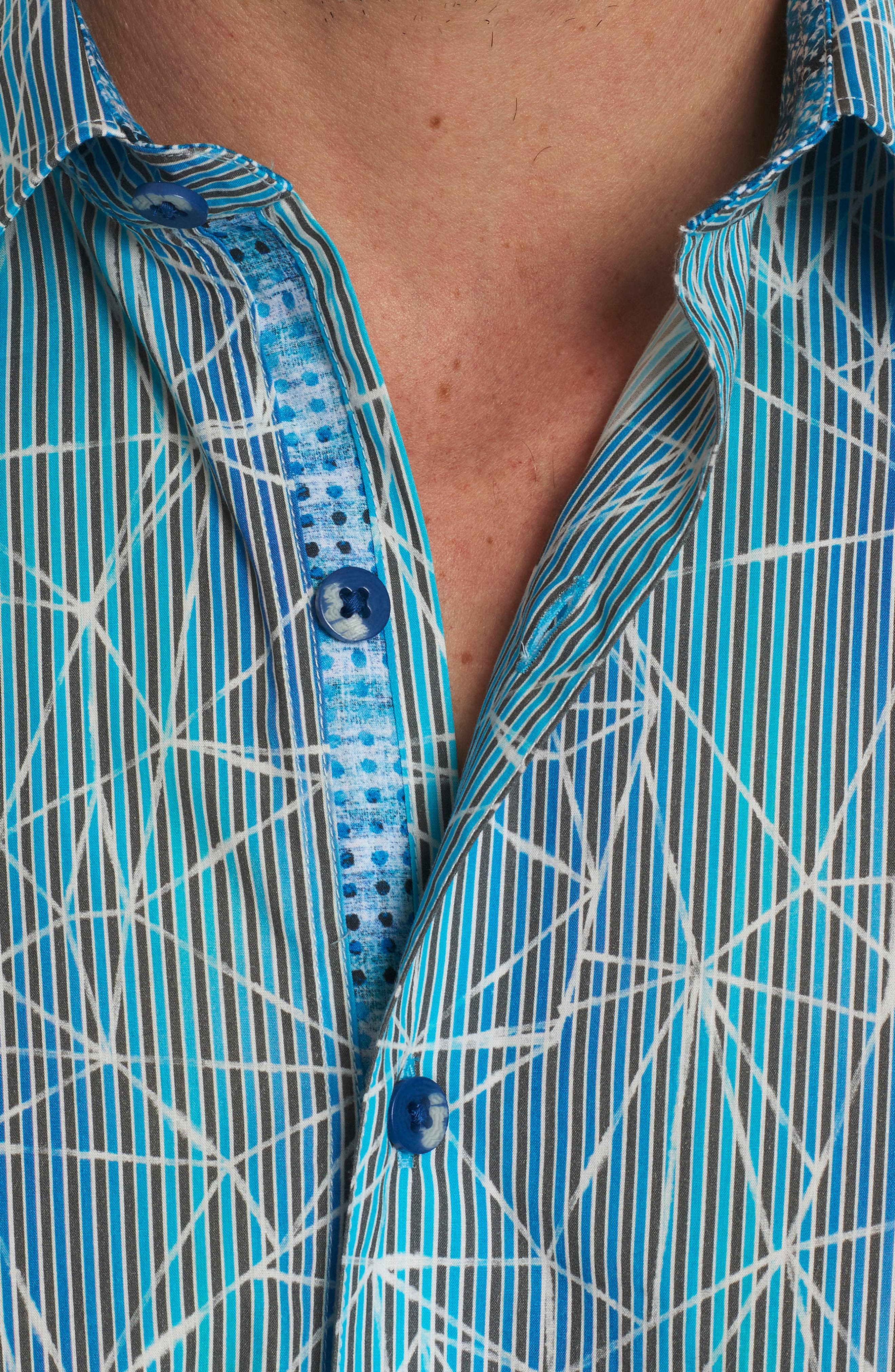 Illusions Print Sport Shirt,                             Alternate thumbnail 4, color,                             Turquoise