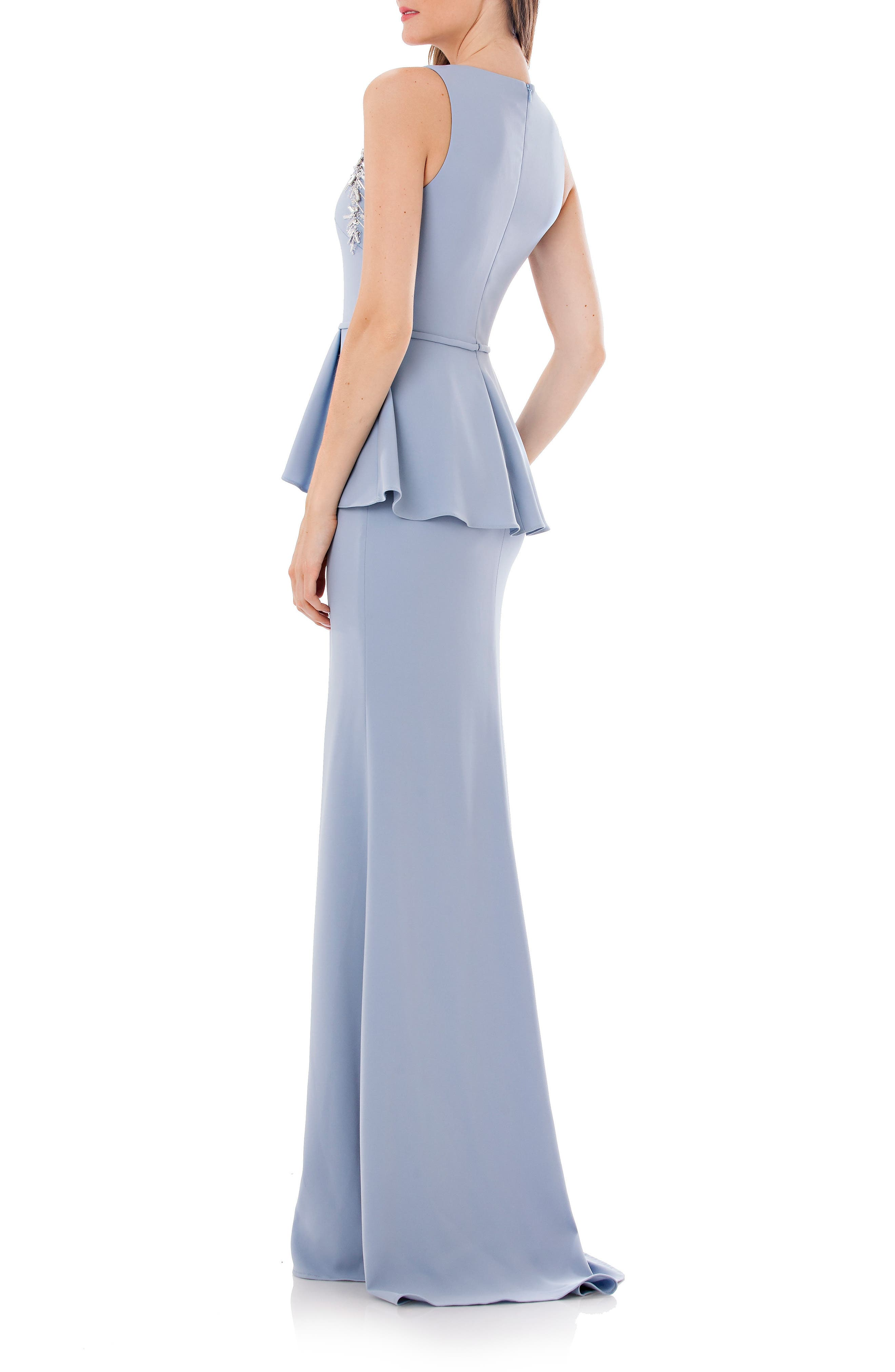 Embellished Peplum Waist Crepe Gown,                             Alternate thumbnail 2, color,                             French Blue