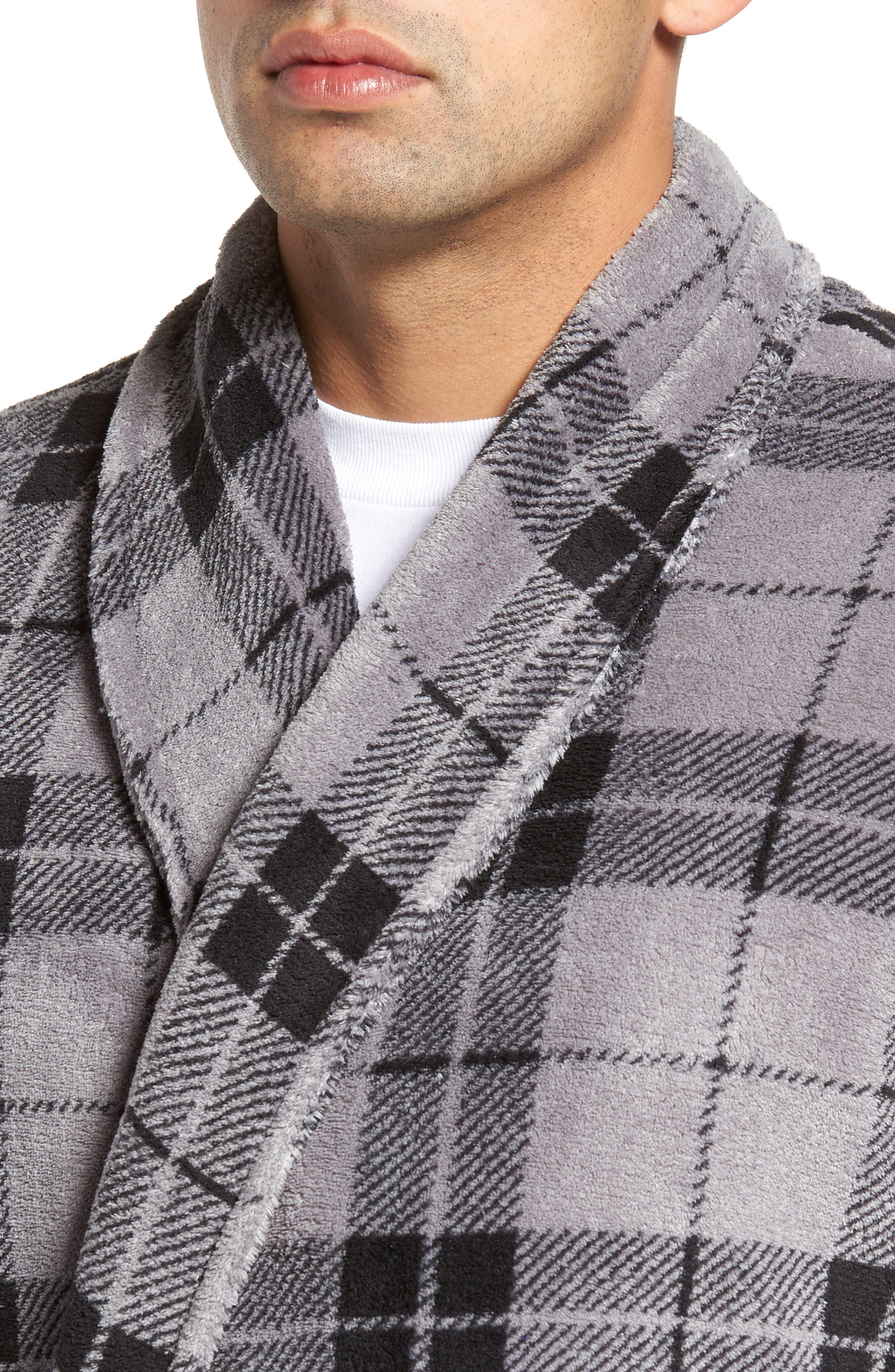 Fleece Robe,                             Alternate thumbnail 4, color,                             Grey Plaid