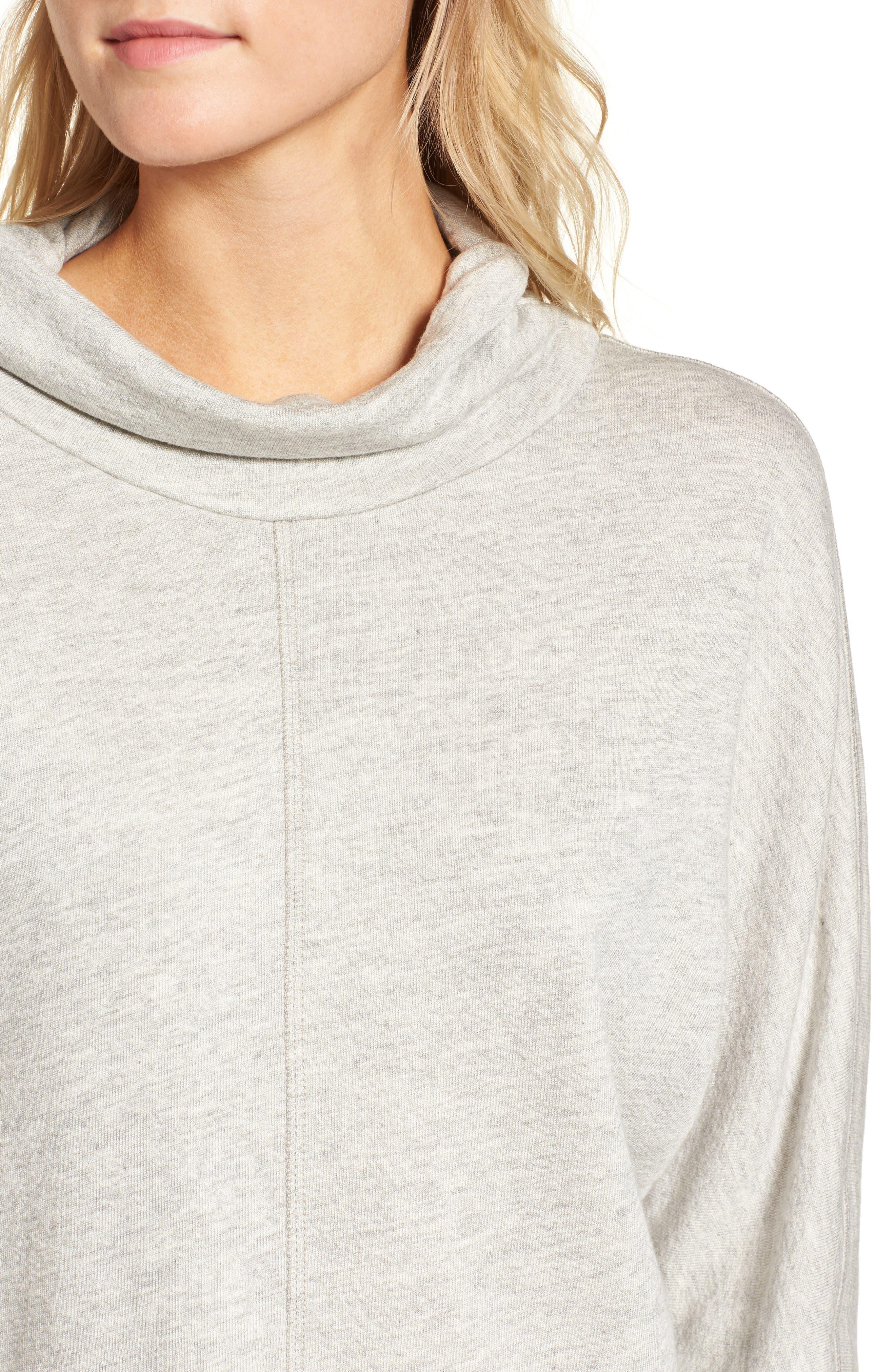 Helix Turtleneck Sweatshirt,                             Alternate thumbnail 4, color,                             Heather Grey