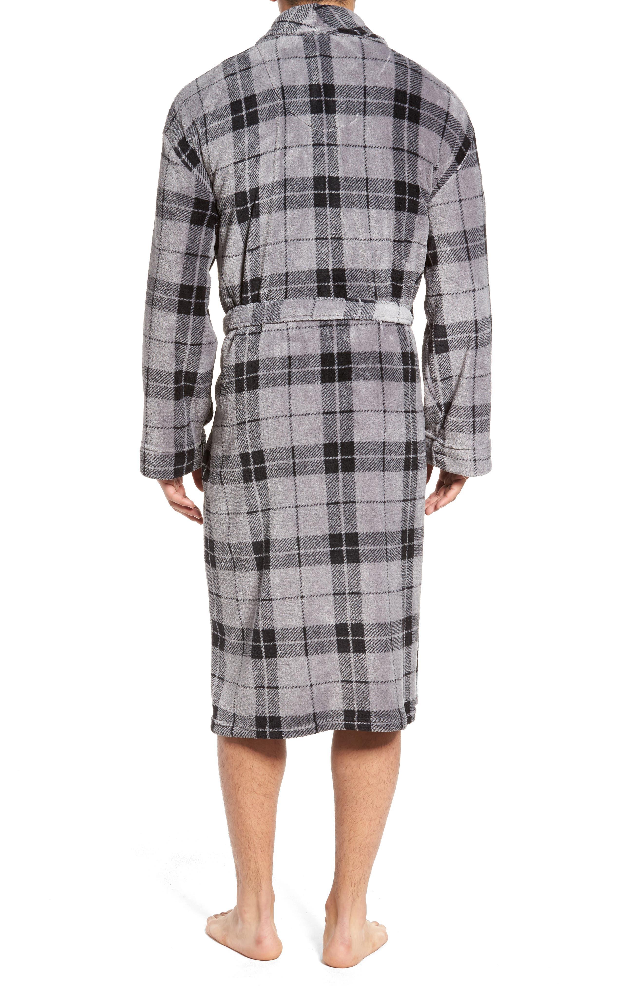 Fleece Robe,                             Alternate thumbnail 2, color,                             Grey Plaid