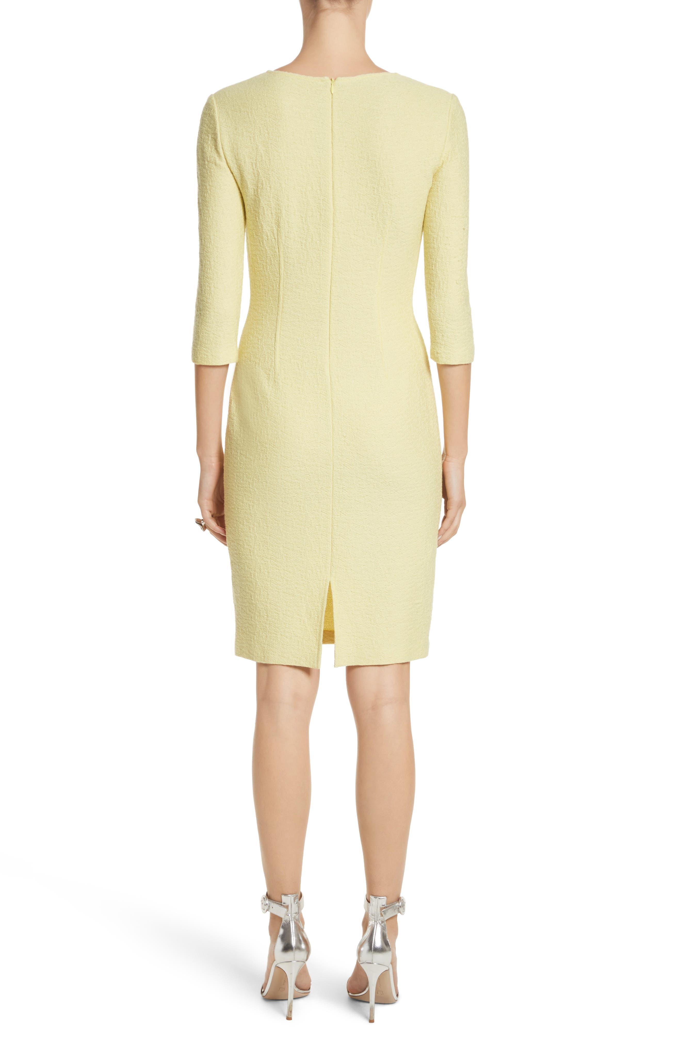 Hannah Knit Asymmetrical Sheath Dress,                             Alternate thumbnail 2, color,                             Citron
