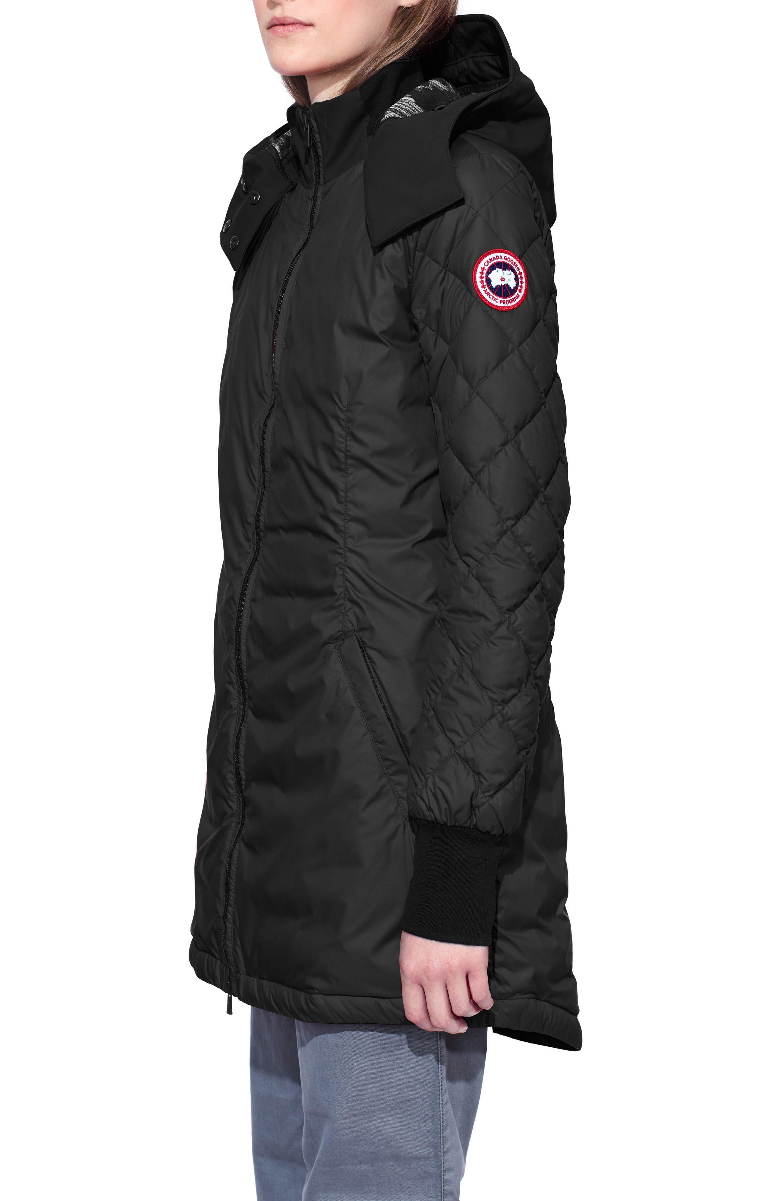 Stellarton Slim Fit Down Coat,                             Alternate thumbnail 3, color,                             Black/ Black