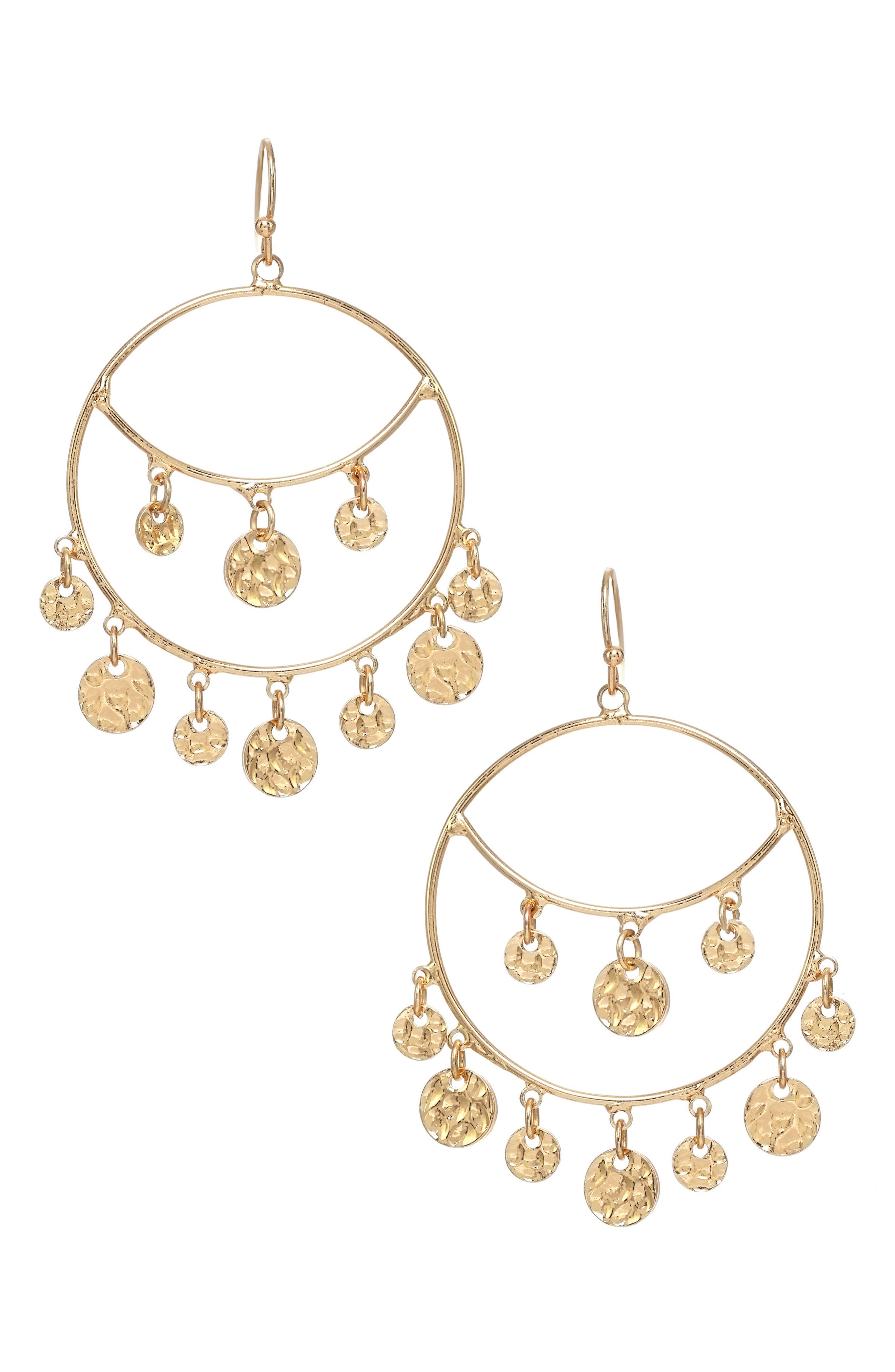 Charm Hoop Earrings,                             Main thumbnail 1, color,                             Gold