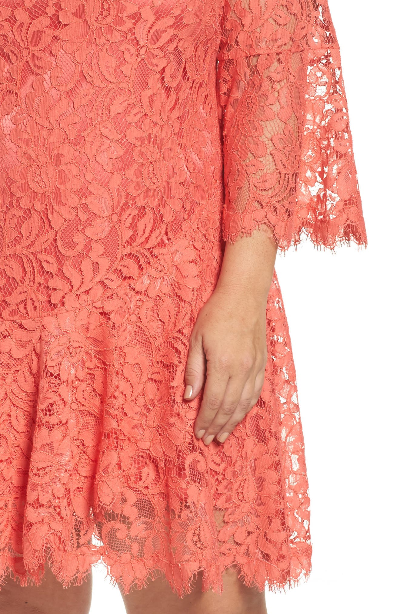 Bell Sleeve Lace Shift Dress,                             Alternate thumbnail 4, color,                             Coral