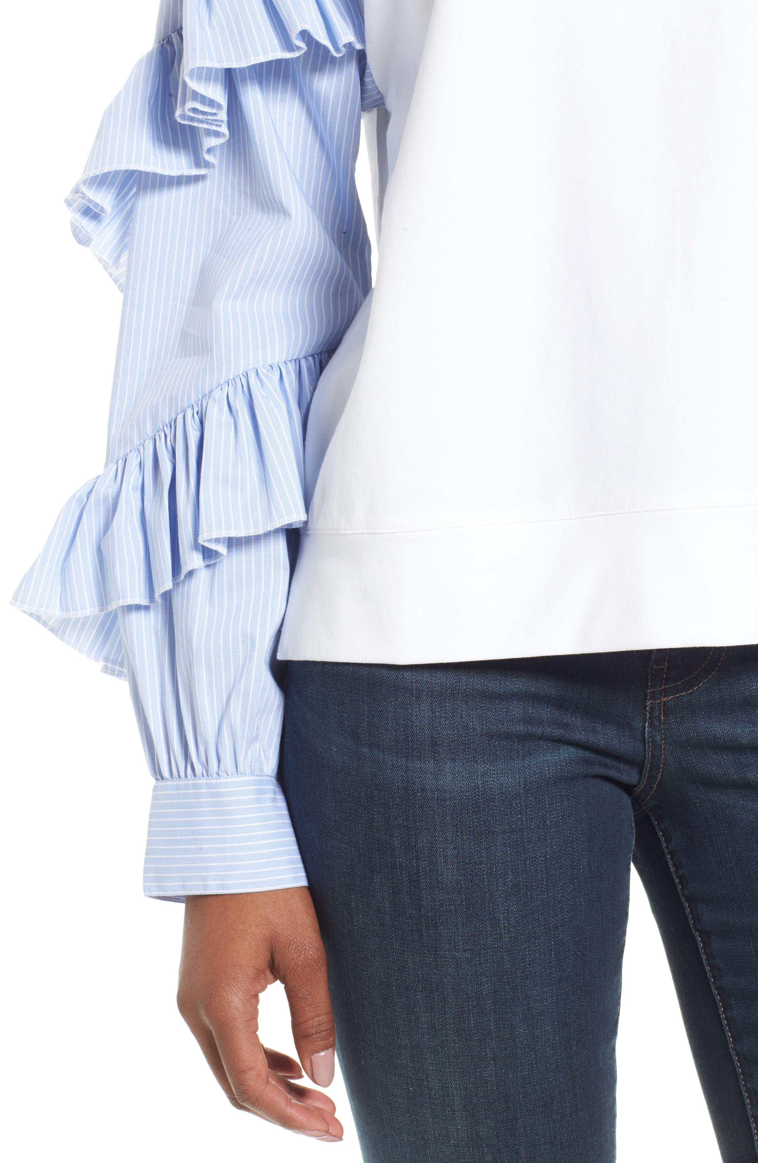 Alternate Image 4  - Halogen® Poplin Ruffle Sleeve Sweatshirt (Regular & Petite)