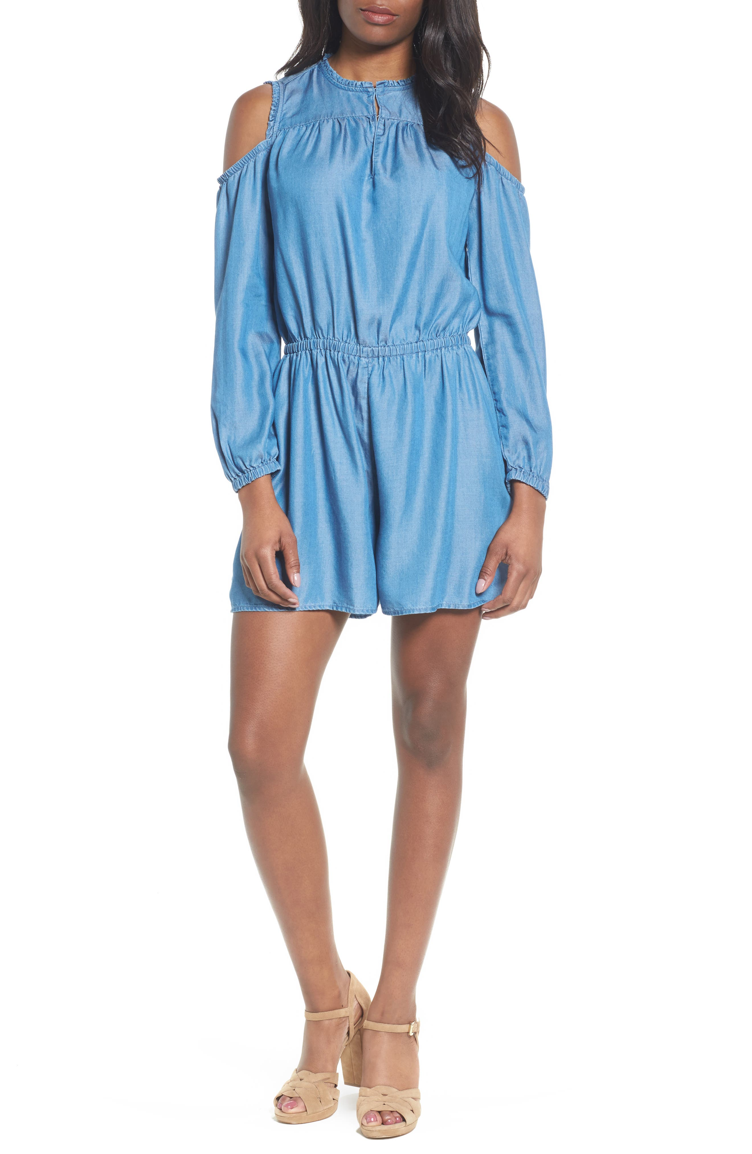 Cold Shoulder Chambray Romper,                         Main,                         color, Light Cadet Wash