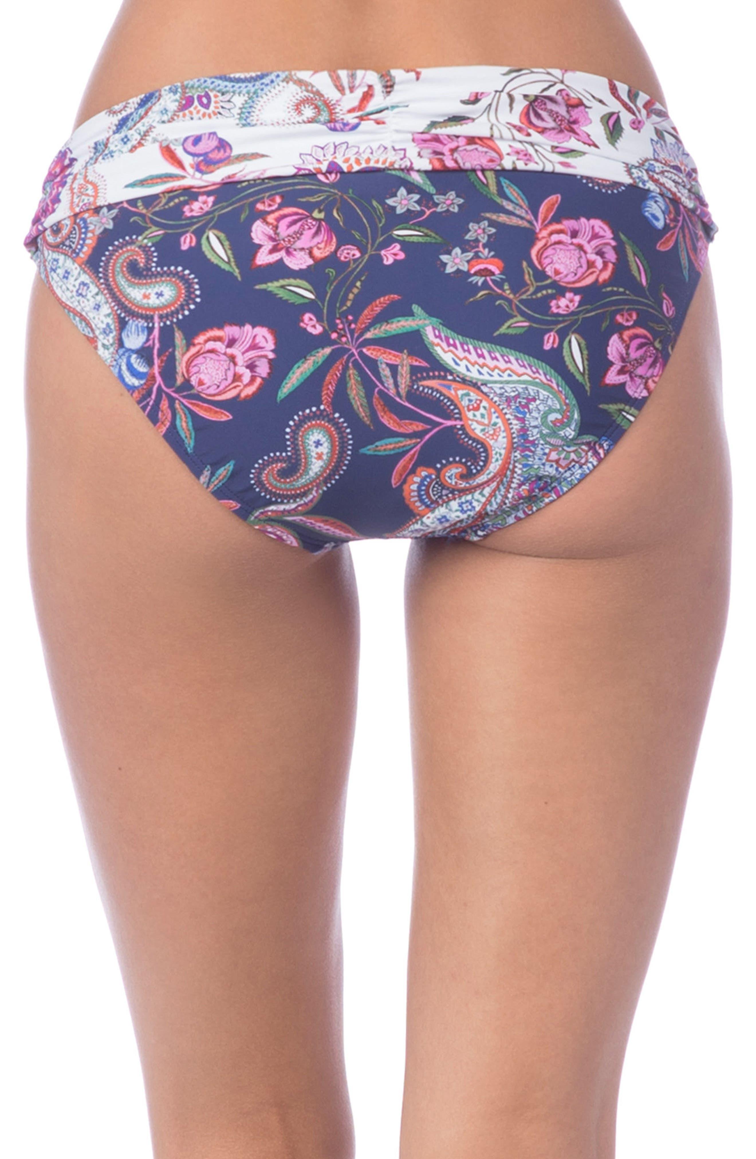 Scarf Gypsy Shirred Band Hipster Bikini Bottoms,                             Alternate thumbnail 2, color,                             Navy Multi