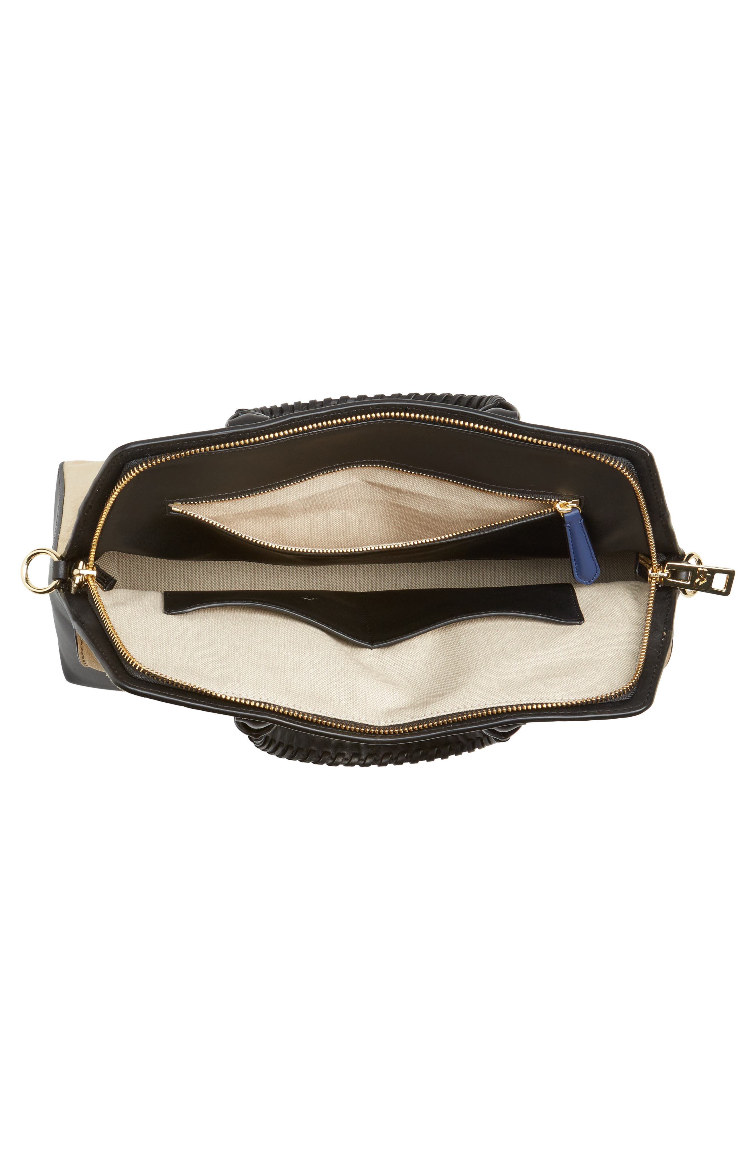 Small Leather & Suede Satchel,                             Alternate thumbnail 4, color,                             Black
