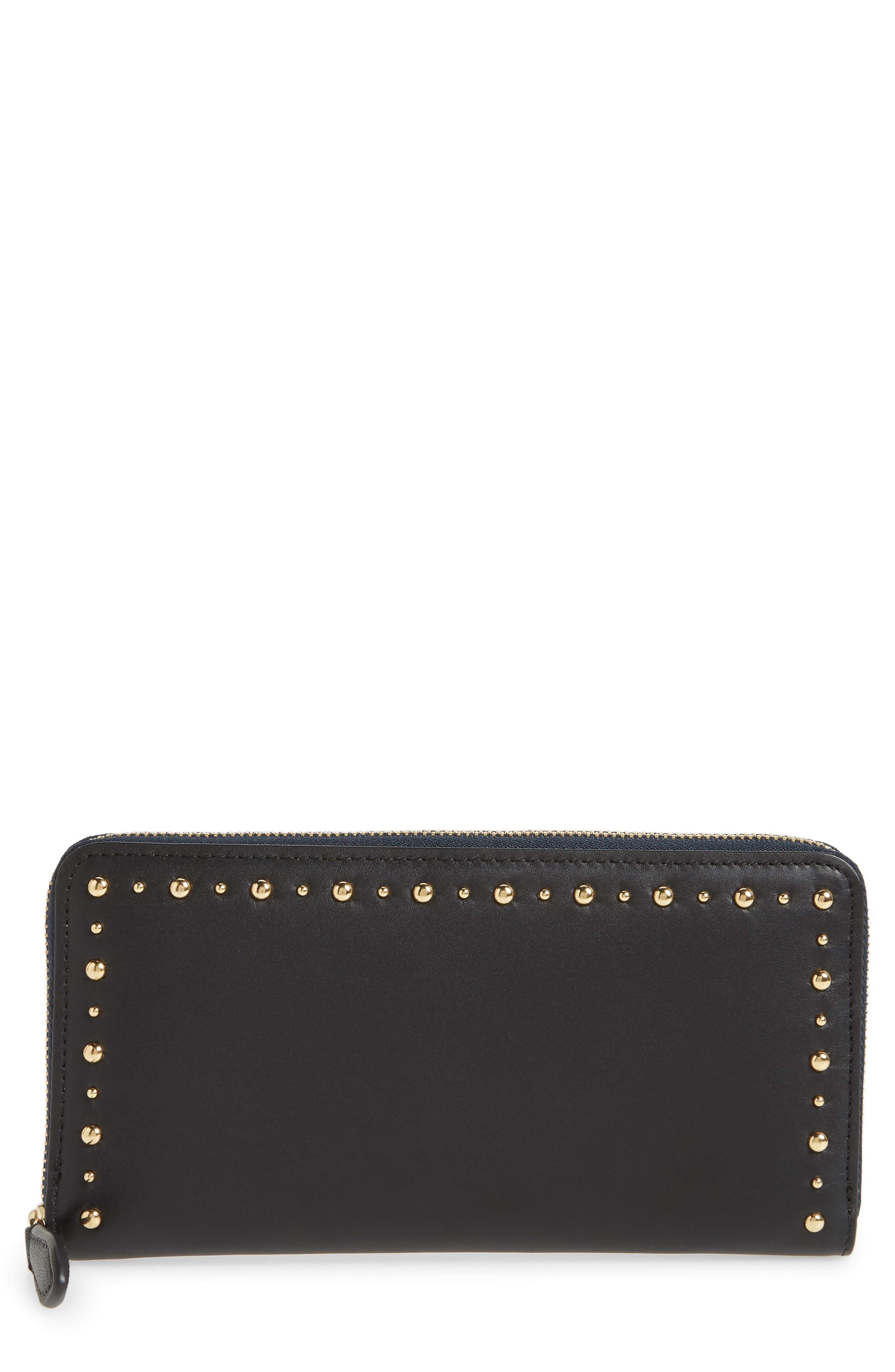 Diane von Furstenberg Studded Zip Around Leather Wallet