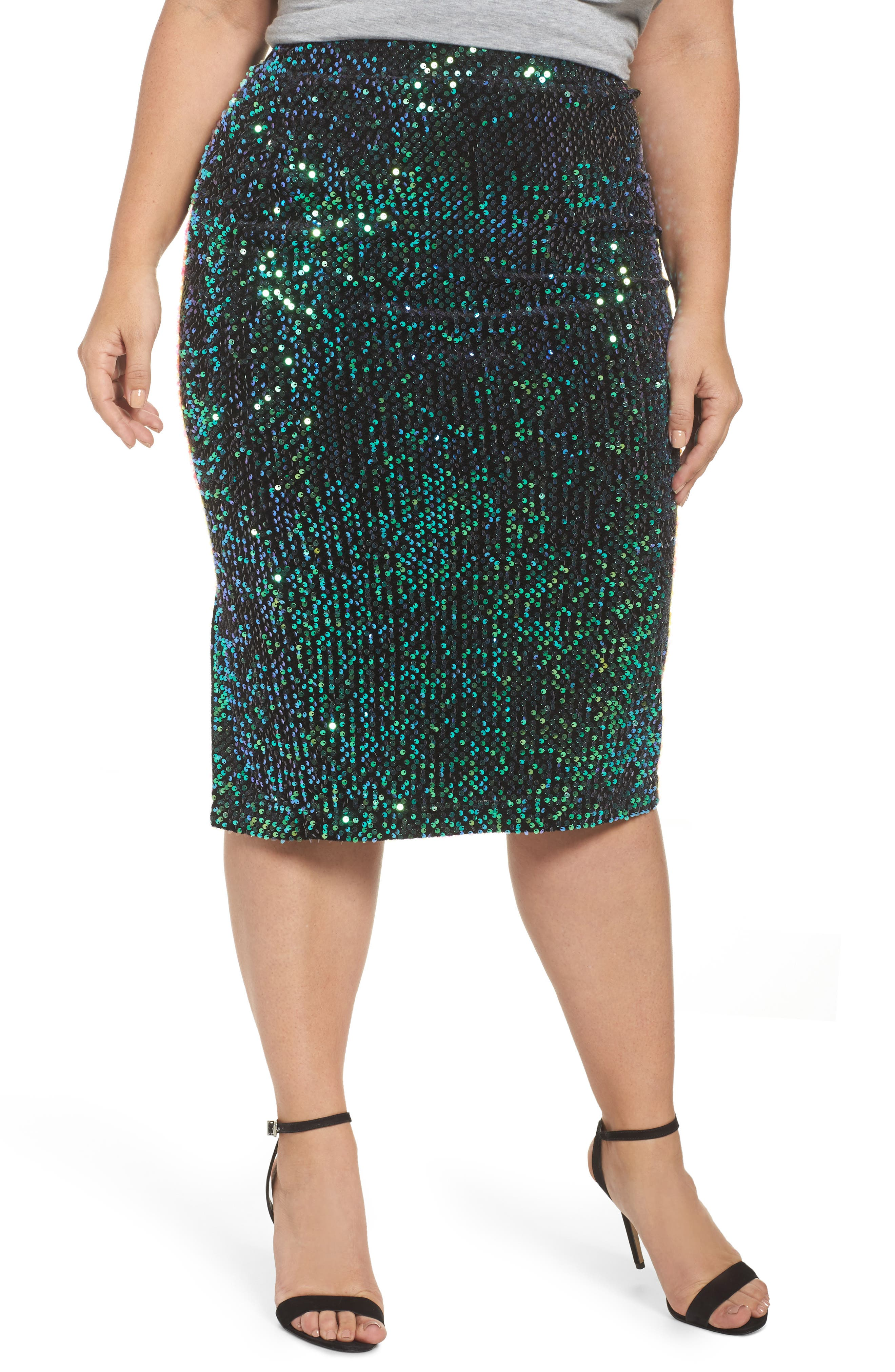 Sequin Pencil Skirt,                         Main,                         color, Navy