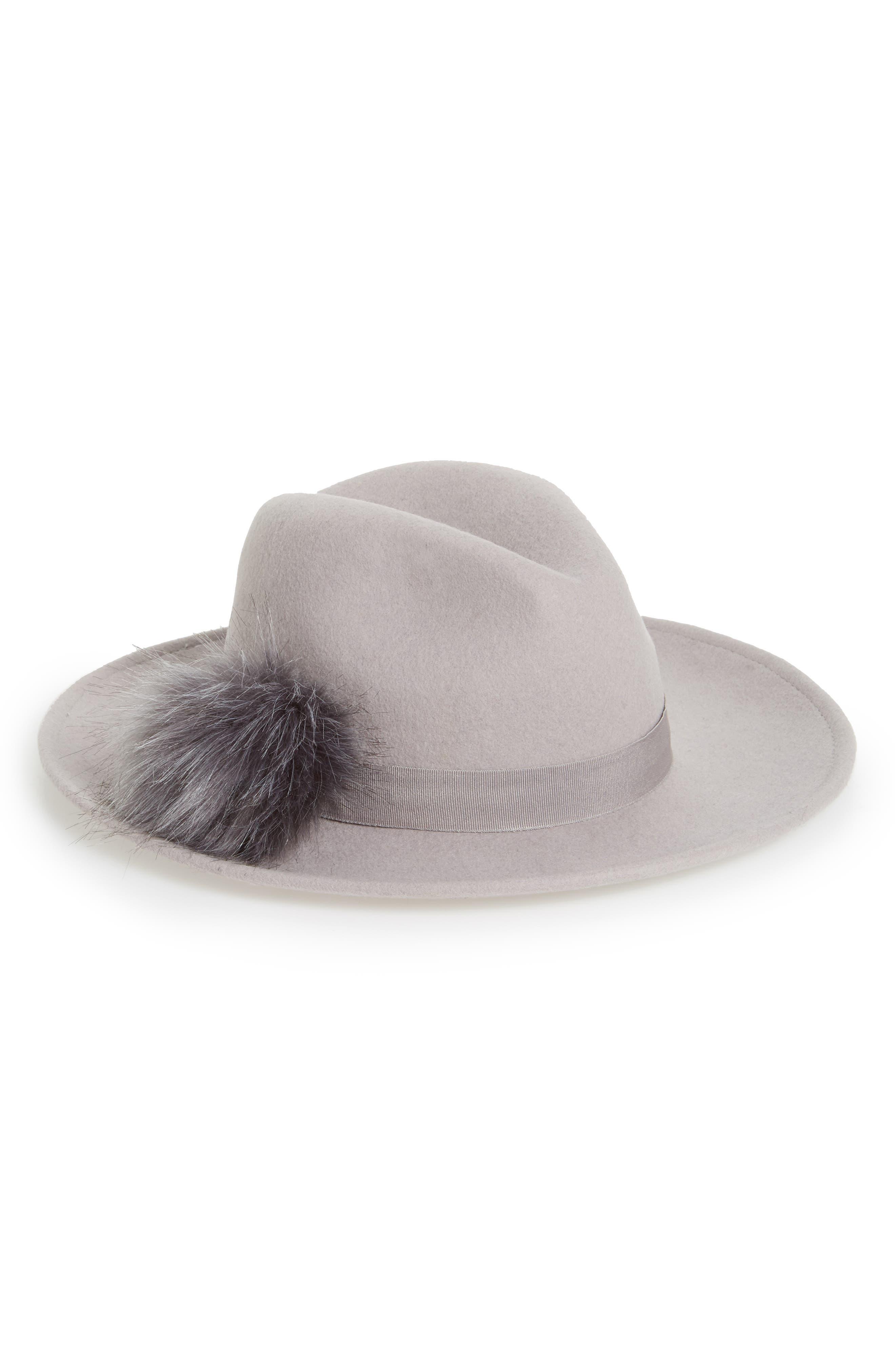 Faux Fur Pompom Fedora,                         Main,                         color, Grey