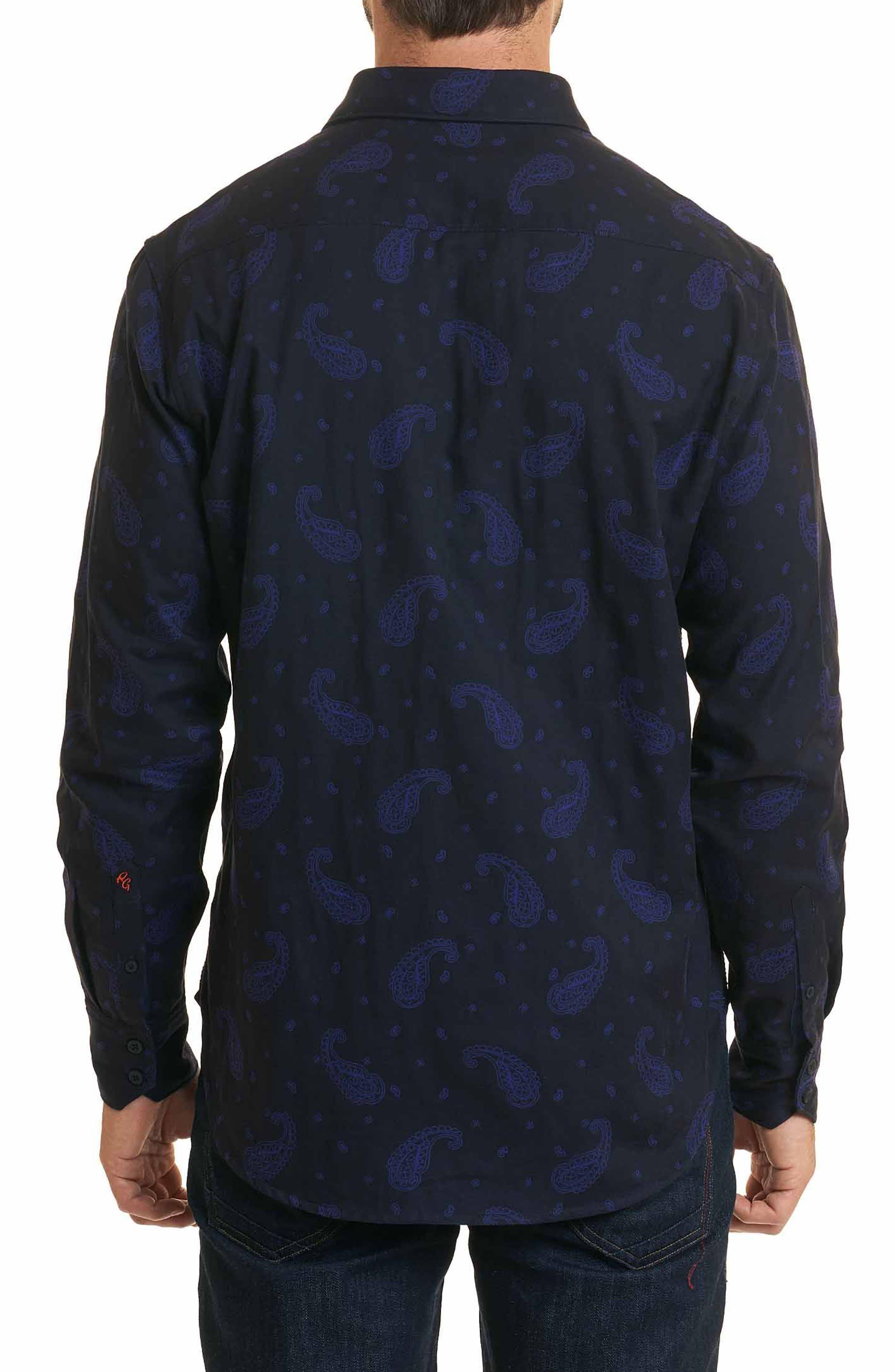 Scatter Paisley Classic Fit Sport Shirt,                             Alternate thumbnail 2, color,                             Black