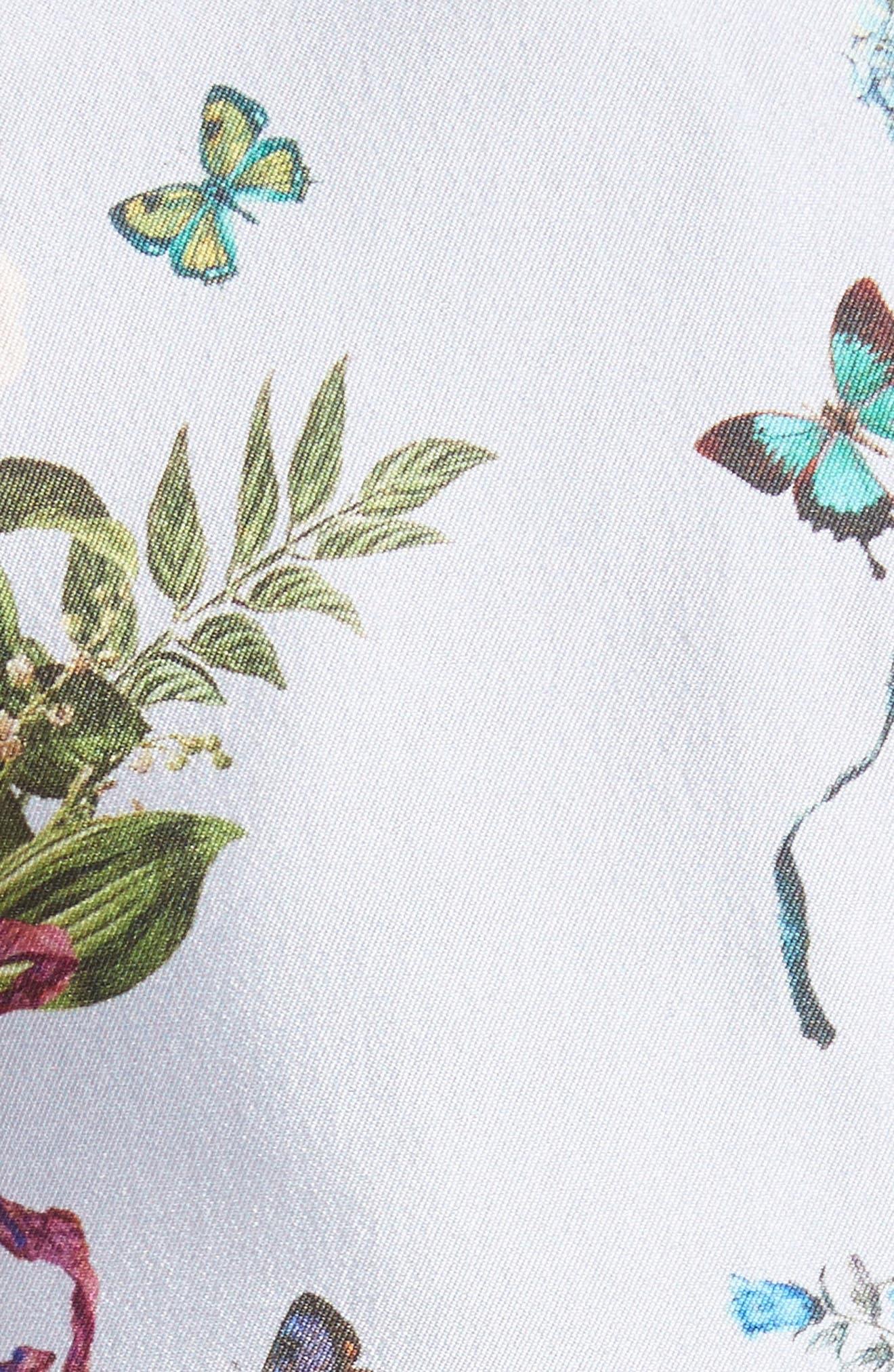 Botantical Print Structured Twill Dress,                             Alternate thumbnail 6, color,                             Lavender Multi