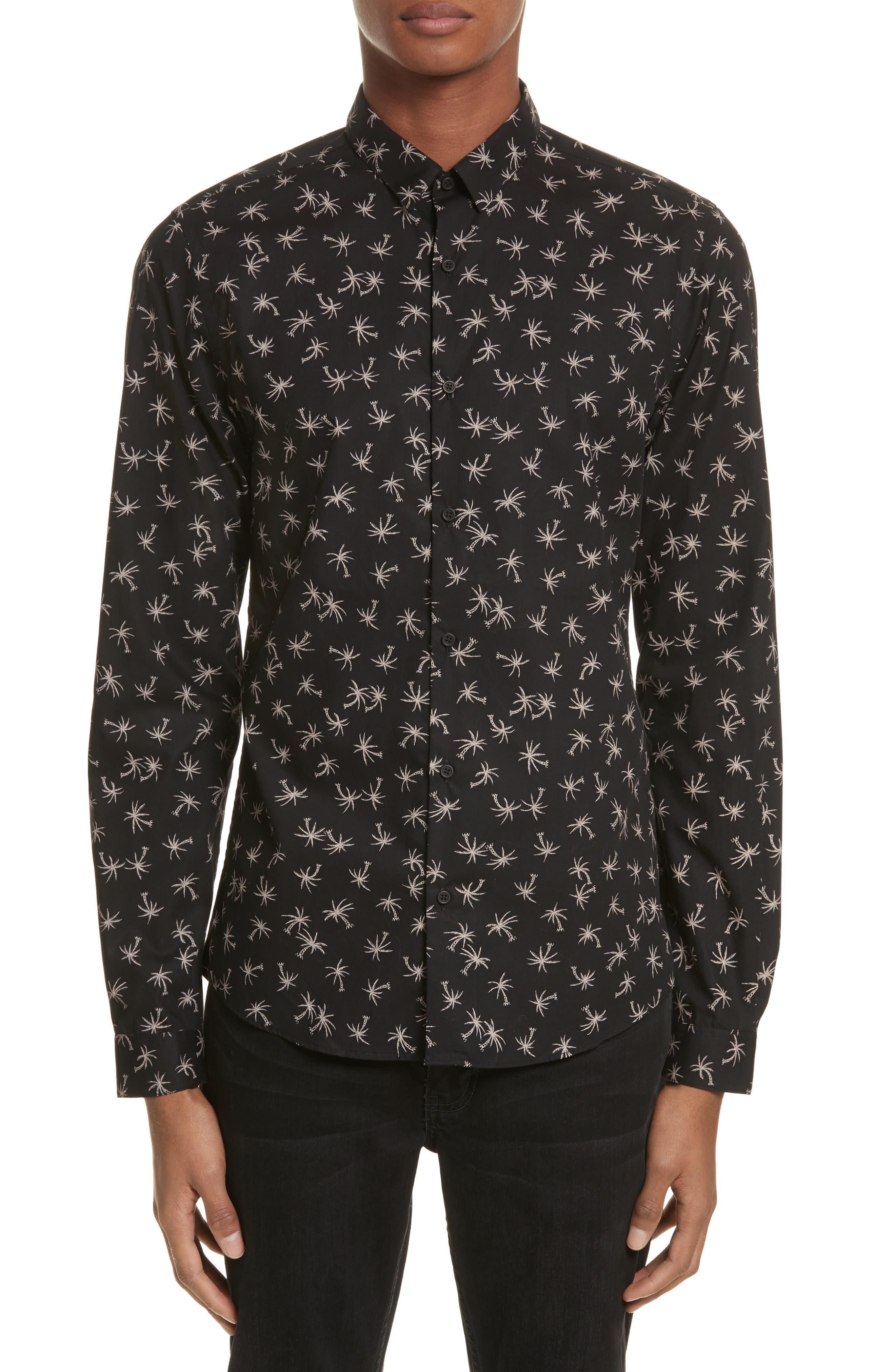 Palm Tree Print Woven Shirt,                         Main,                         color, Black