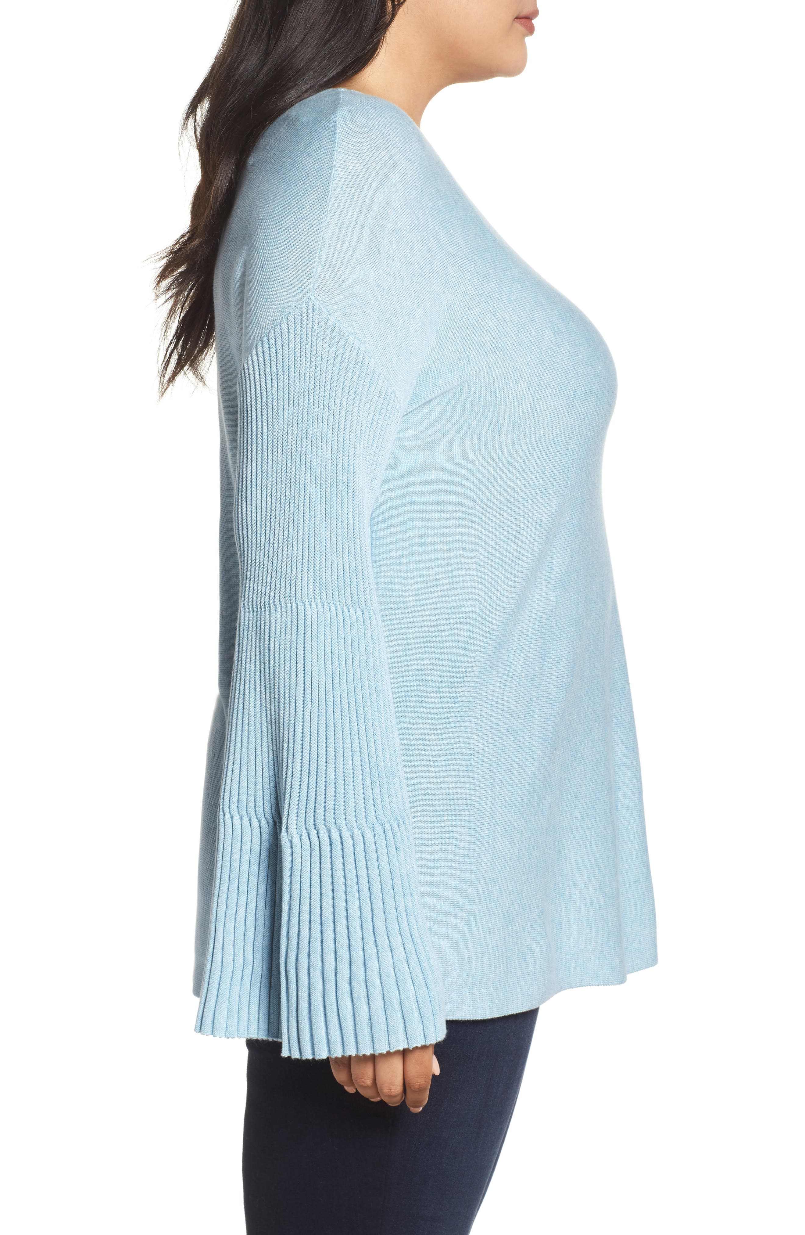 Alternate Image 3  - Vince Camuto Ribbed Bell Sleeve Sweater (Plus Size)
