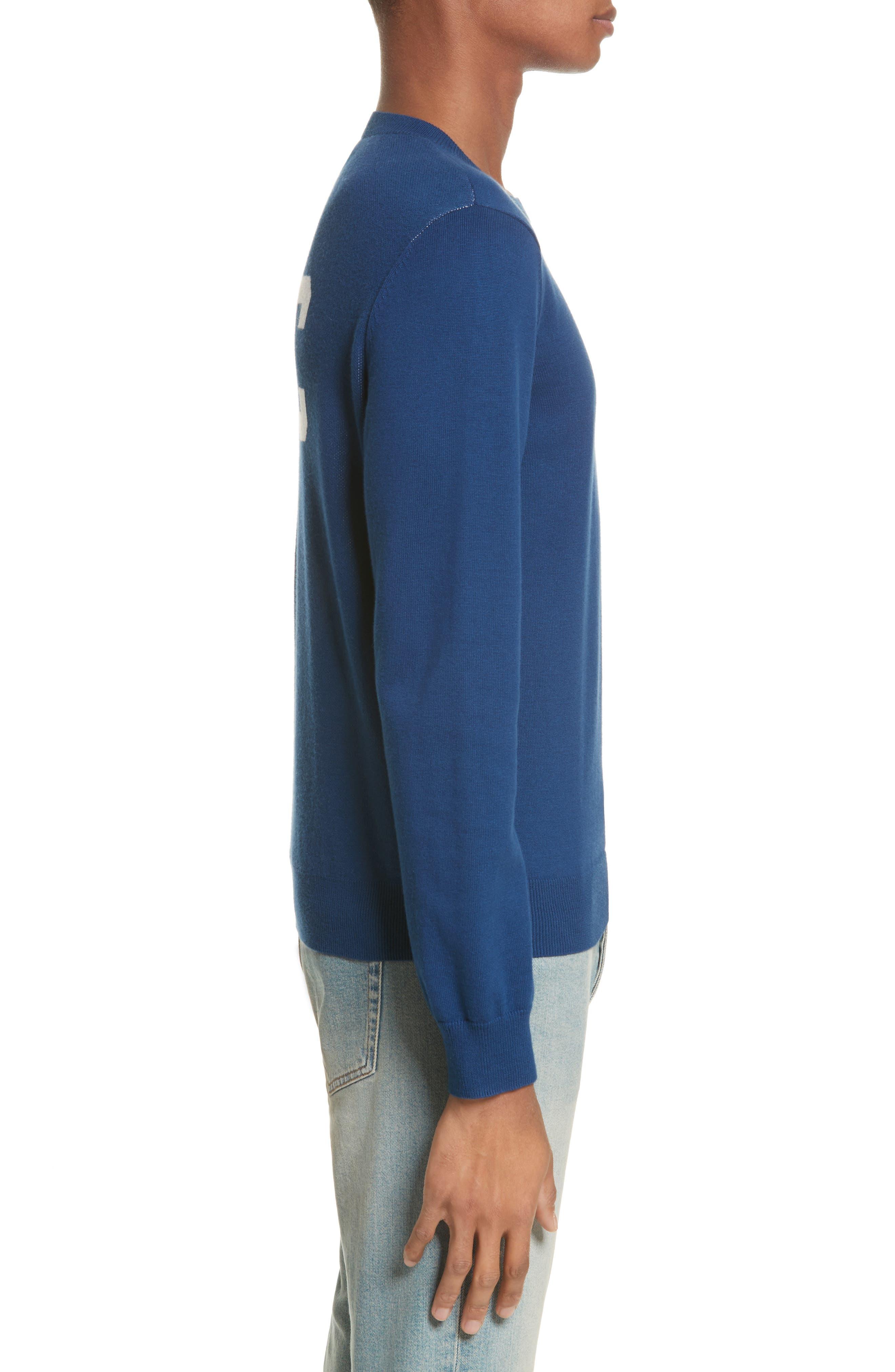 CIA Crewneck Sweater,                             Alternate thumbnail 3, color,                             Bleu Fonce Iah