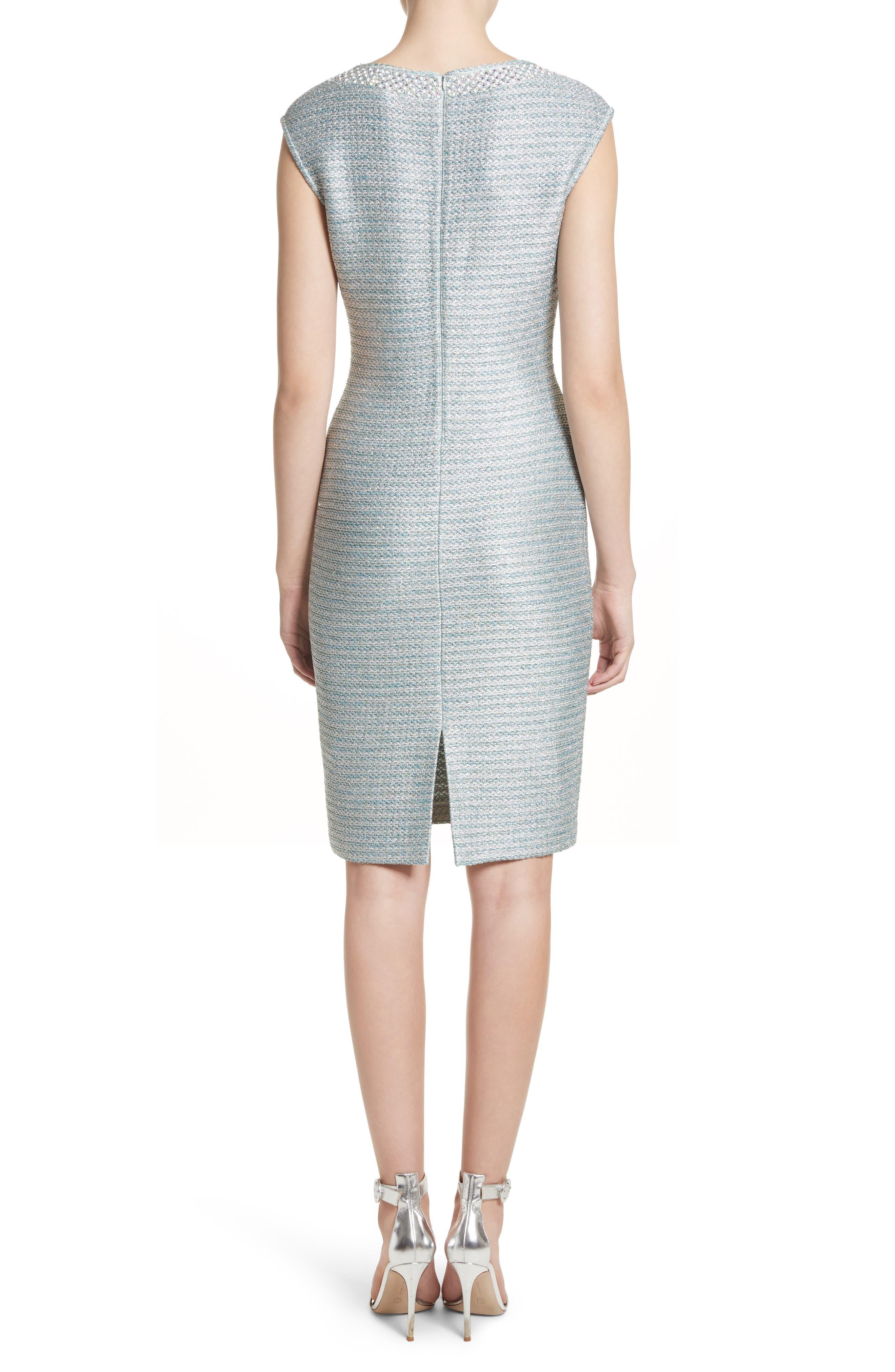 Alternate Image 2  - St. John Collection Gleam Metallic Knit Sheath Dress