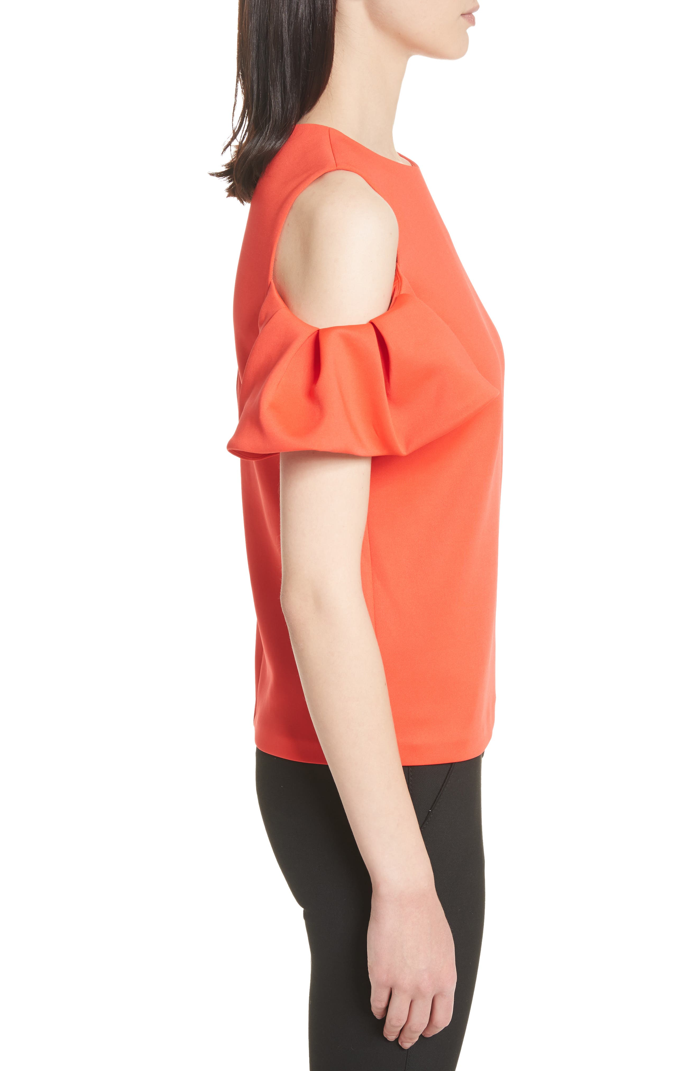 Cold Shoulder Pleated Sleeve Top,                             Alternate thumbnail 3, color,                             Bright Red