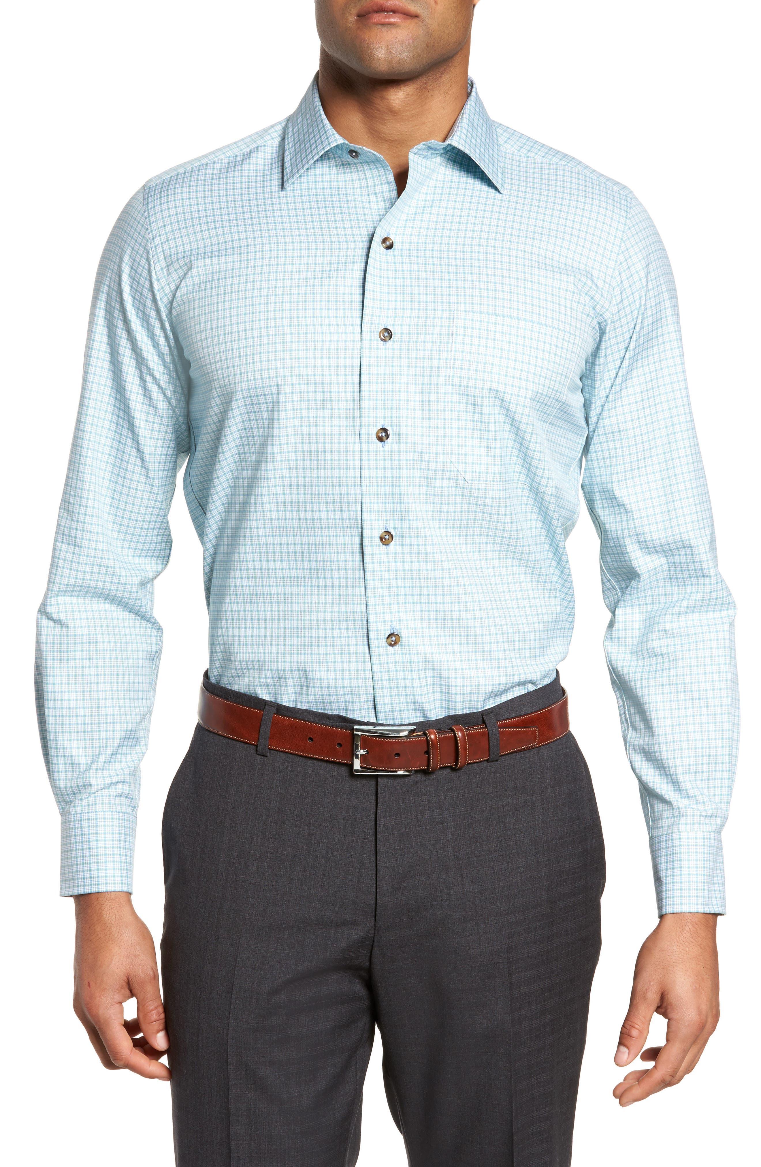 Check Sport Shirt,                         Main,                         color, Grass
