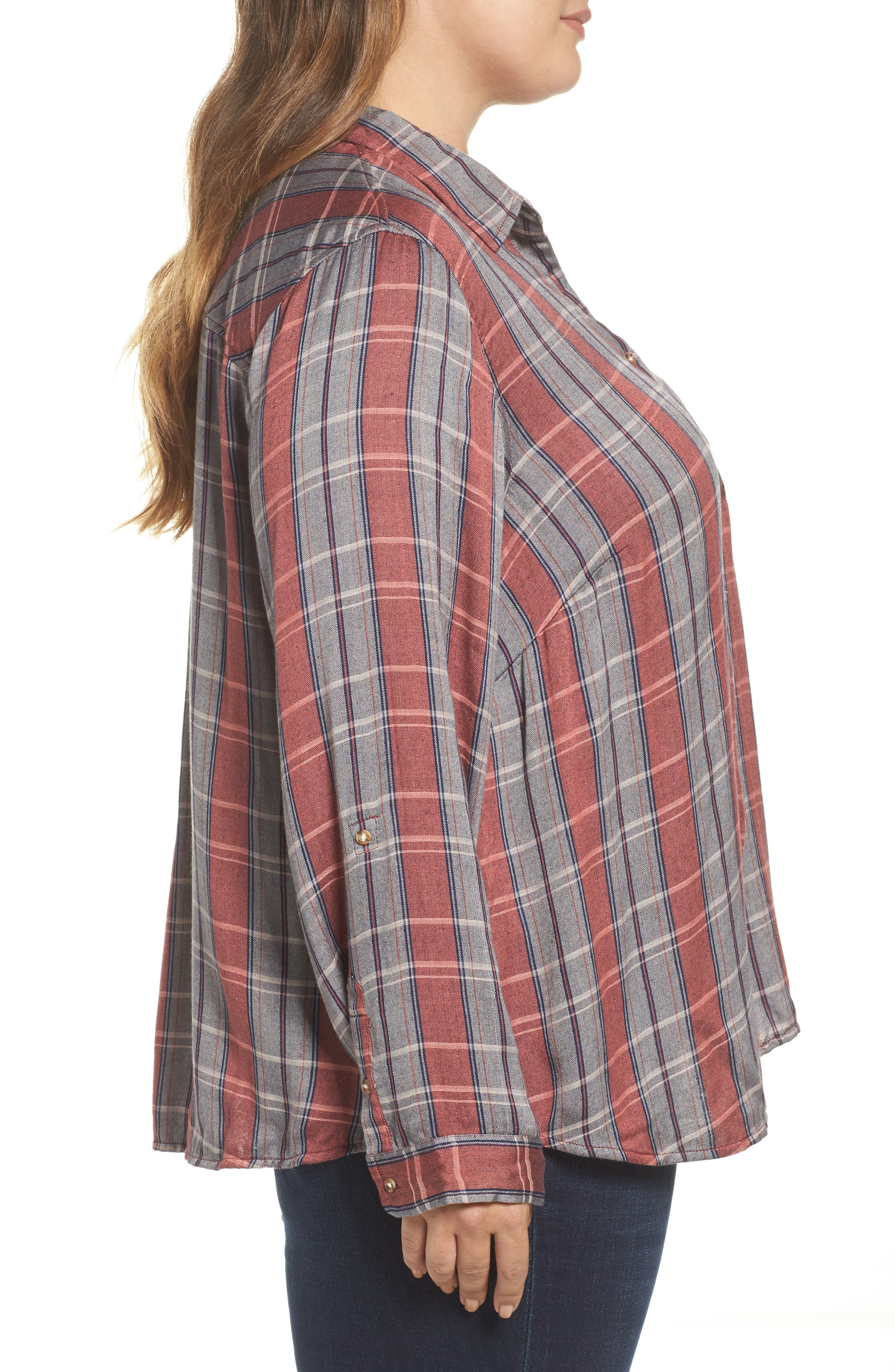 Alternate Image 3  - Lucky Brand Plaid Pocket Shirt (Plus Size)