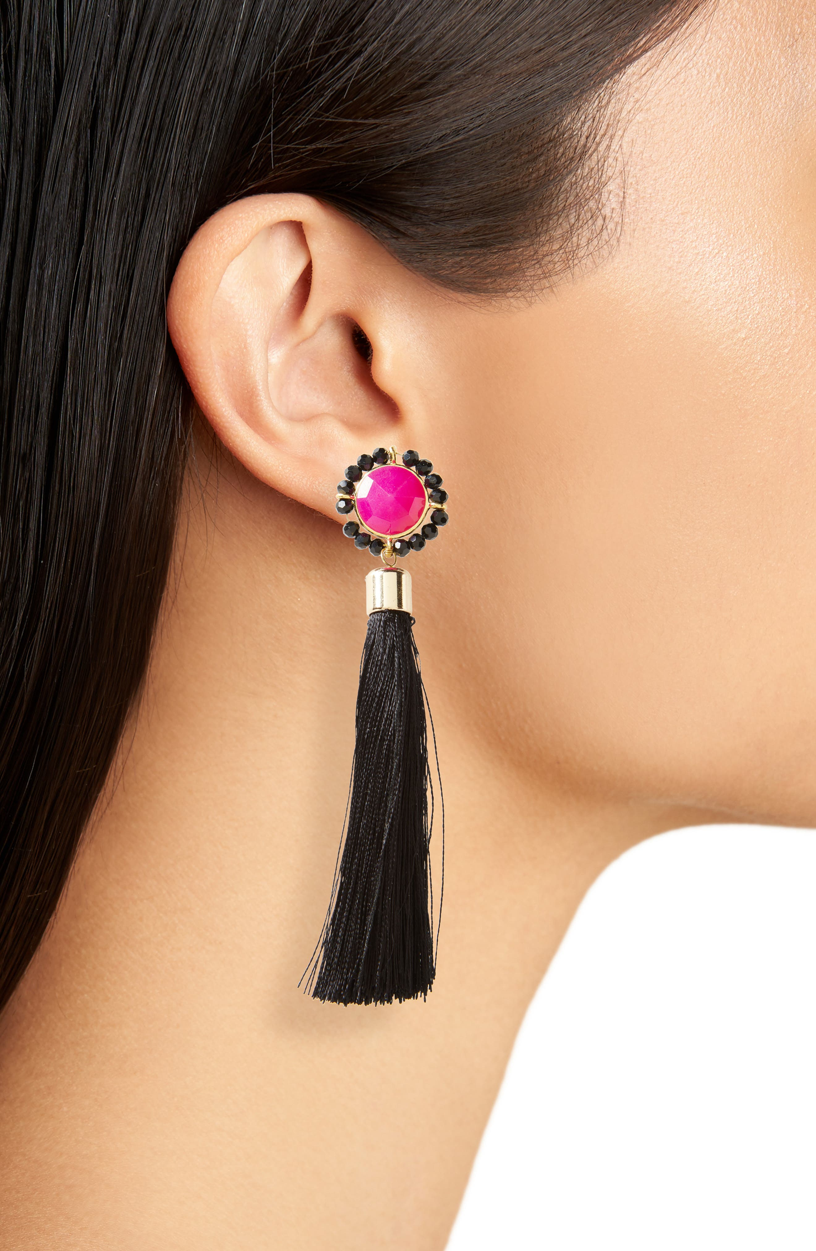Tassel Drop Earrings,                             Alternate thumbnail 2, color,                             Multi