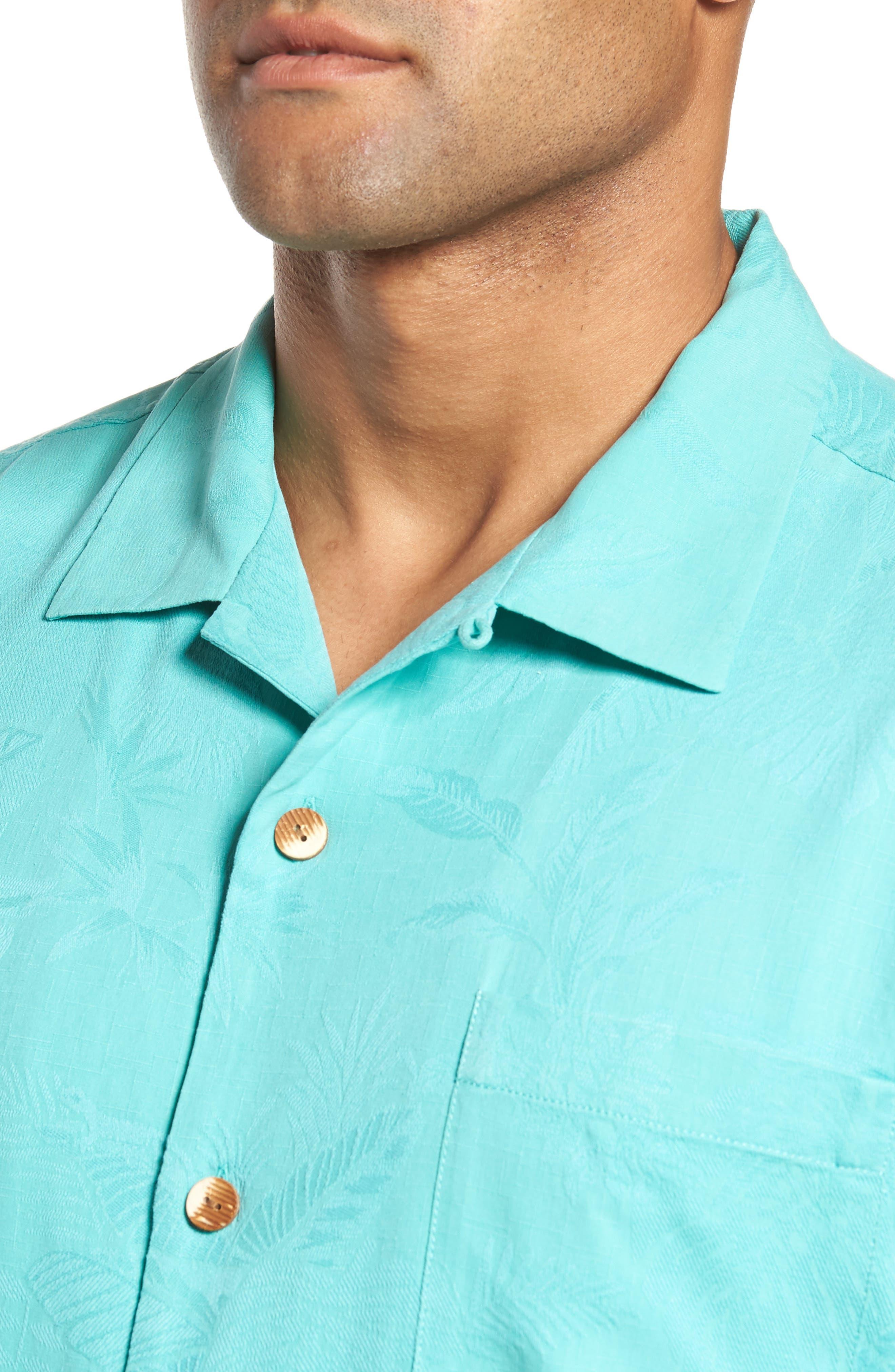 St Lucia Fronds Silk Camp Shirt,                             Alternate thumbnail 4, color,                             Castaway Green