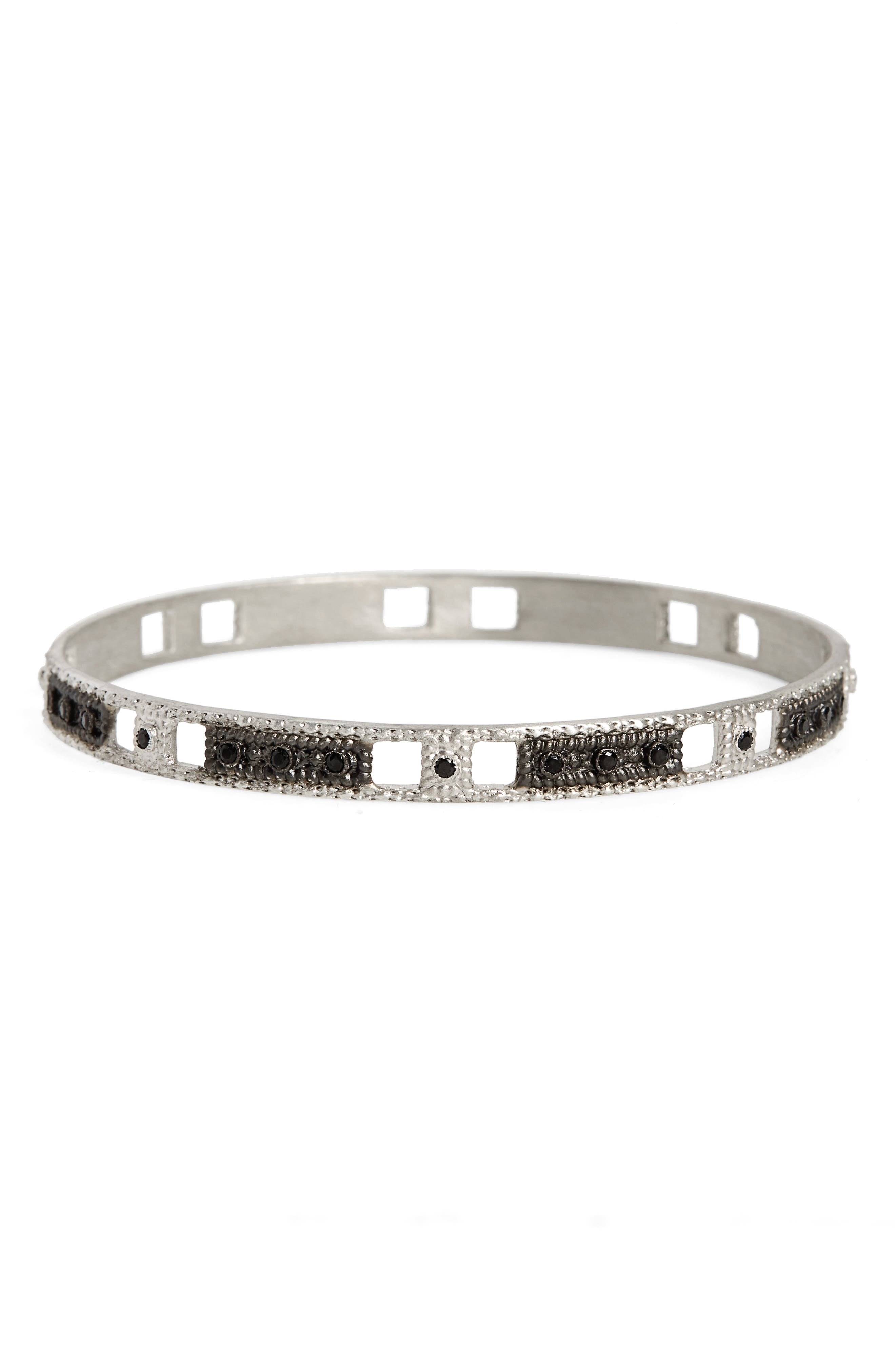 New World Wide Open Square Motif Bangle,                         Main,                         color, Silver
