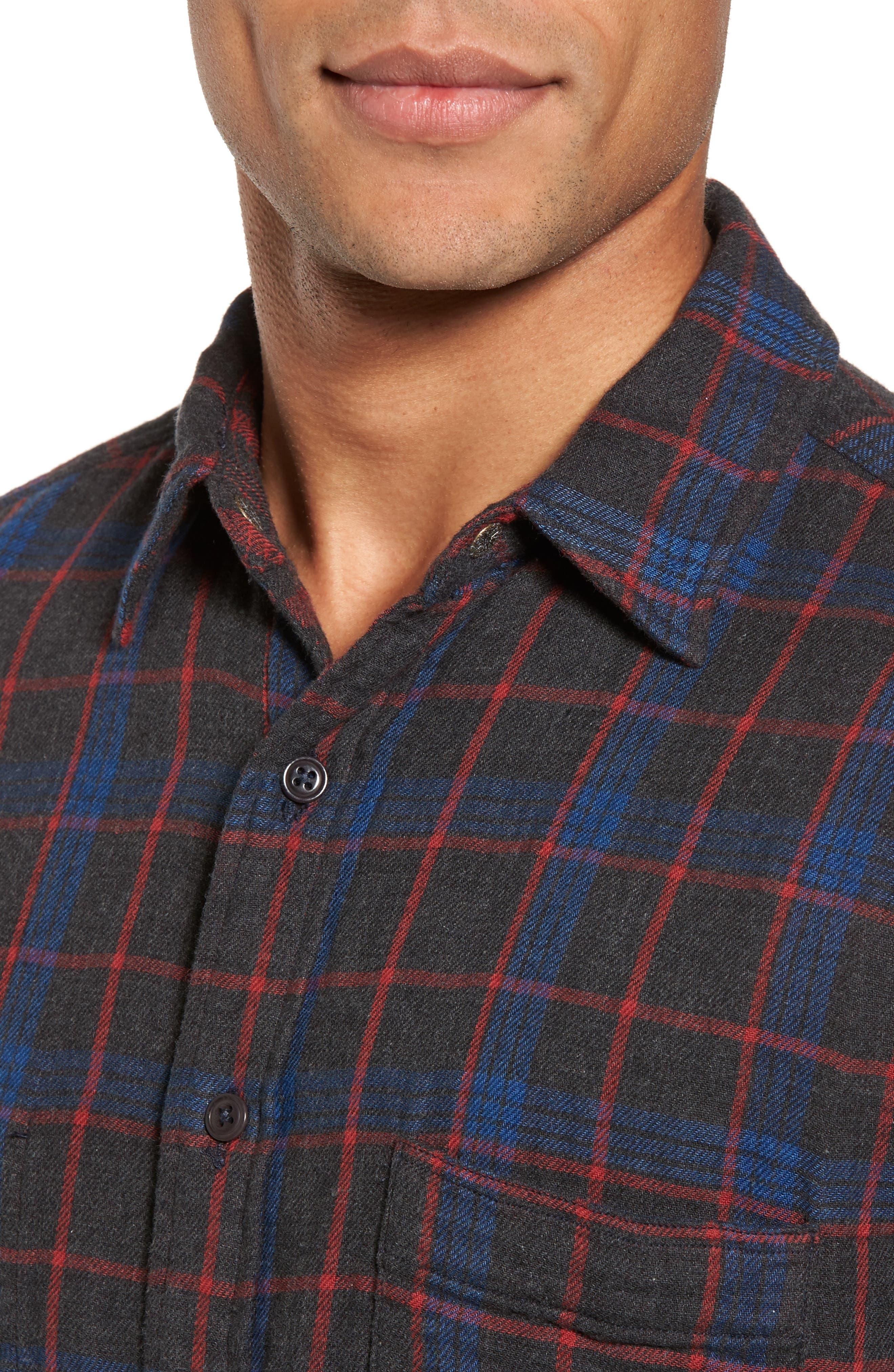 Belmar Plaid Reversible Sport Shirt,                             Alternate thumbnail 5, color,                             Charcoal Blue Red Plaid