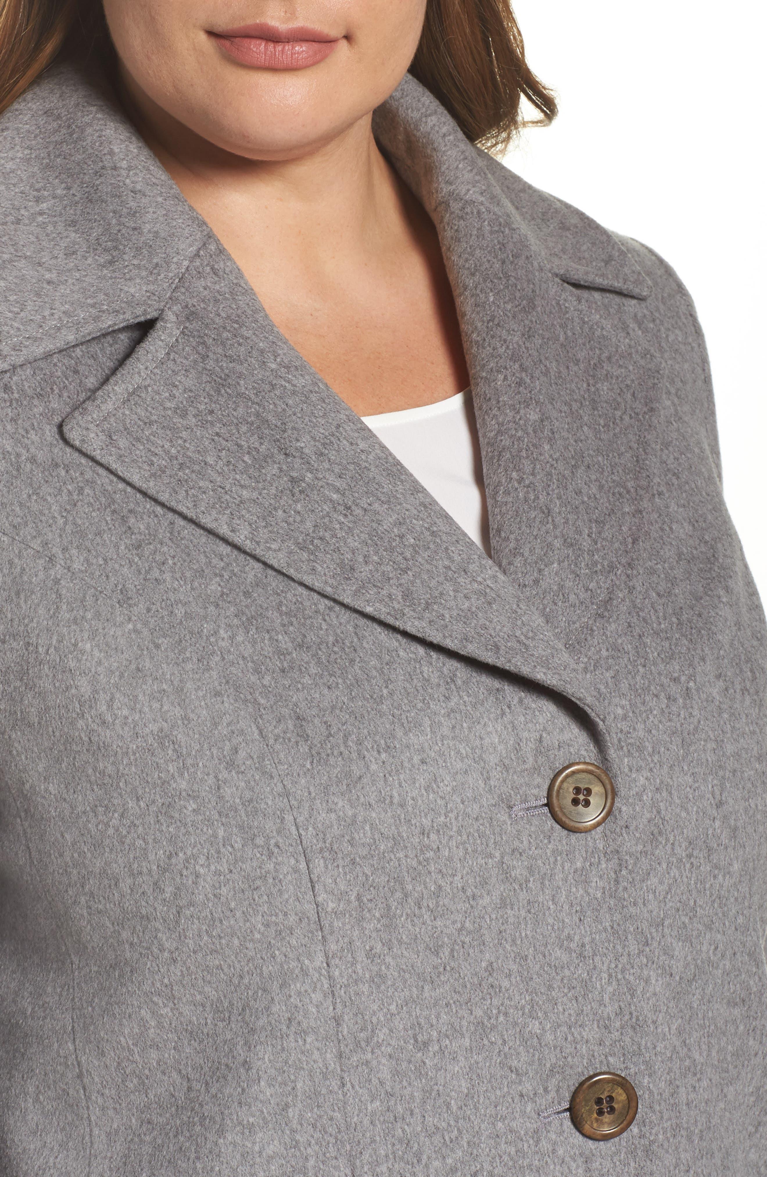 Alternate Image 4  - Fleurette Wool Walking Coat (Plus Size)