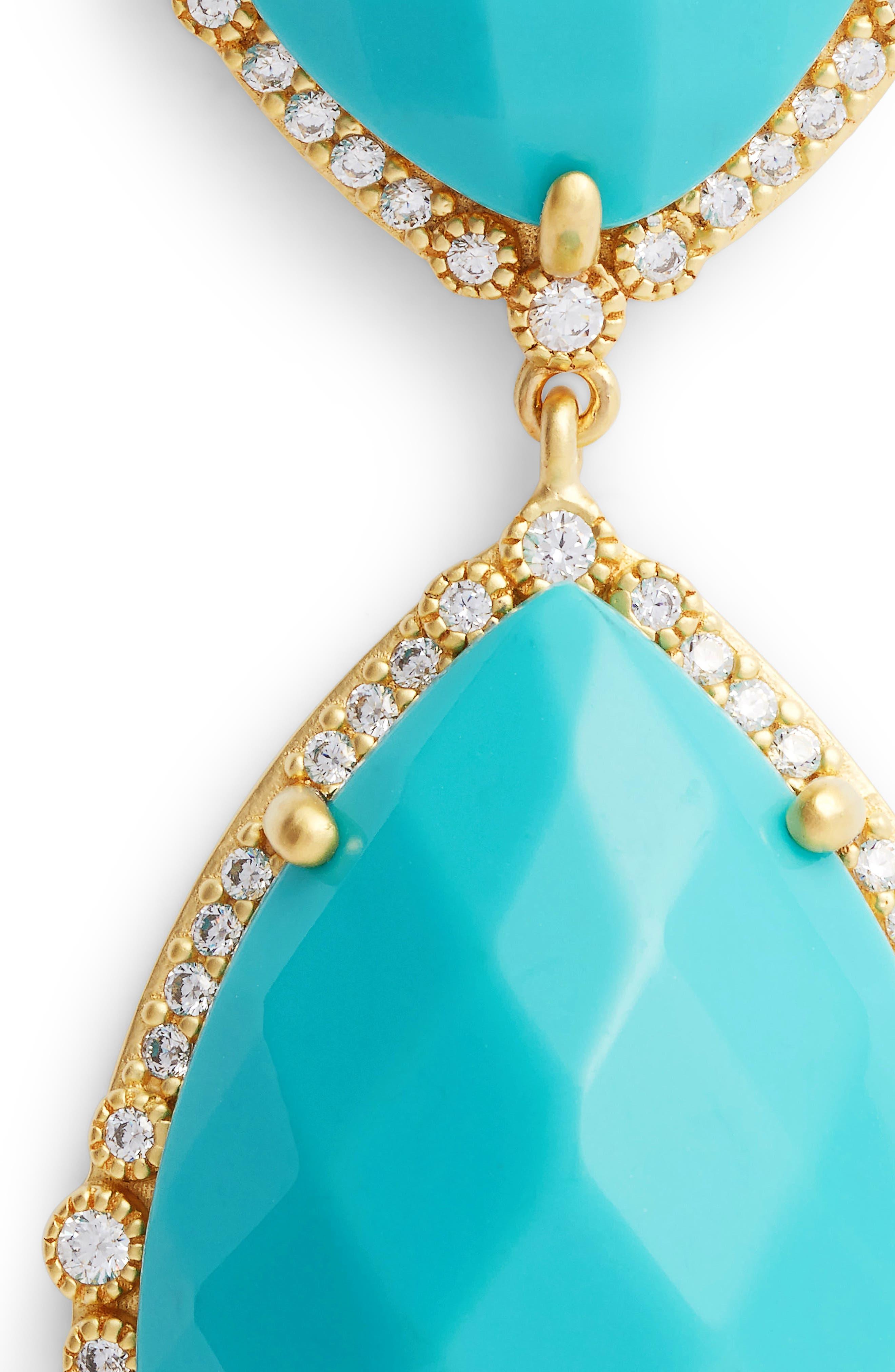 'Metropolitan' Stone Drop Earrings,                             Alternate thumbnail 4, color,                             Gold/ Turquoise