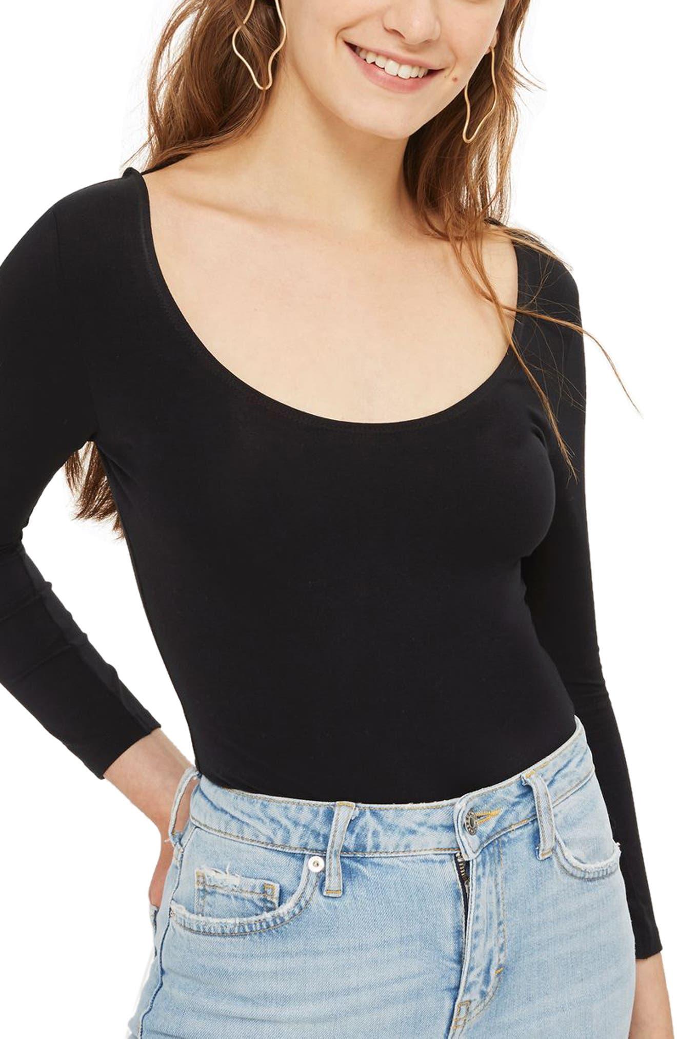 Scoop Back Bodysuit,                             Main thumbnail 1, color,                             Black