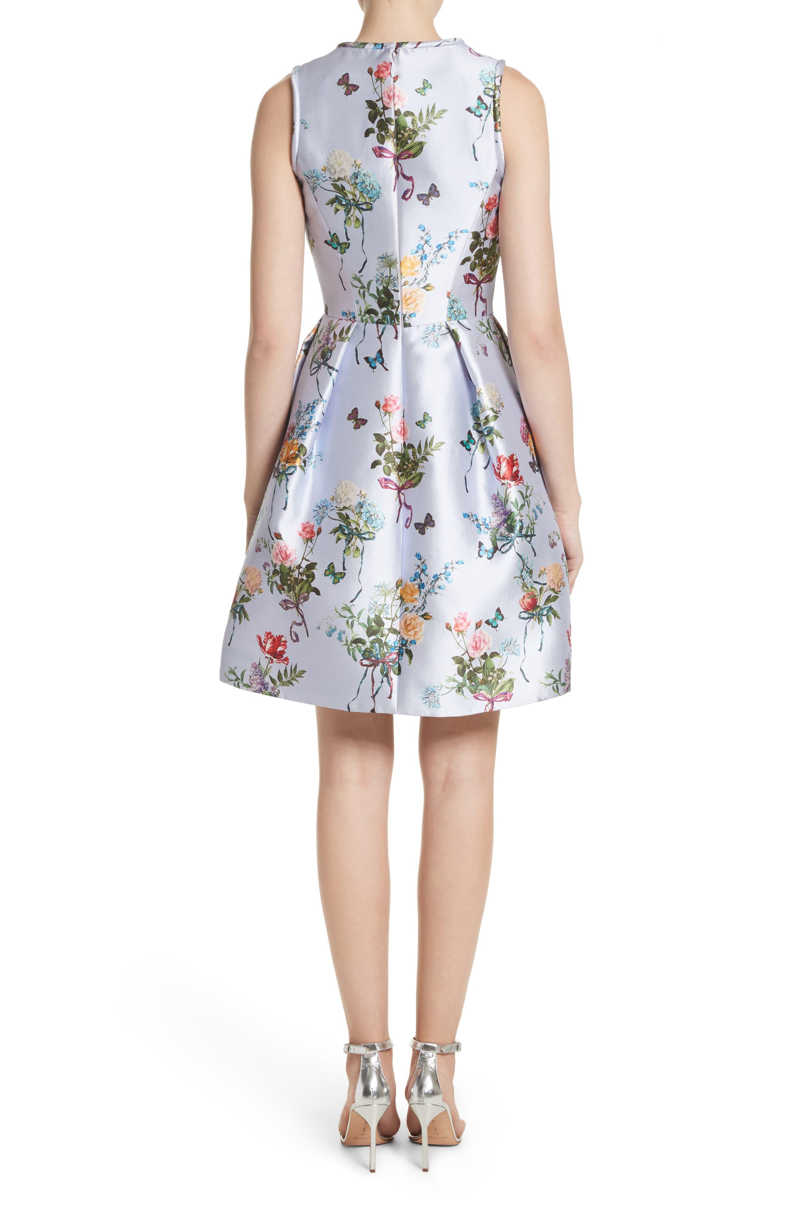 Botantical Print Structured Twill Dress,                             Alternate thumbnail 2, color,                             Lavender Multi