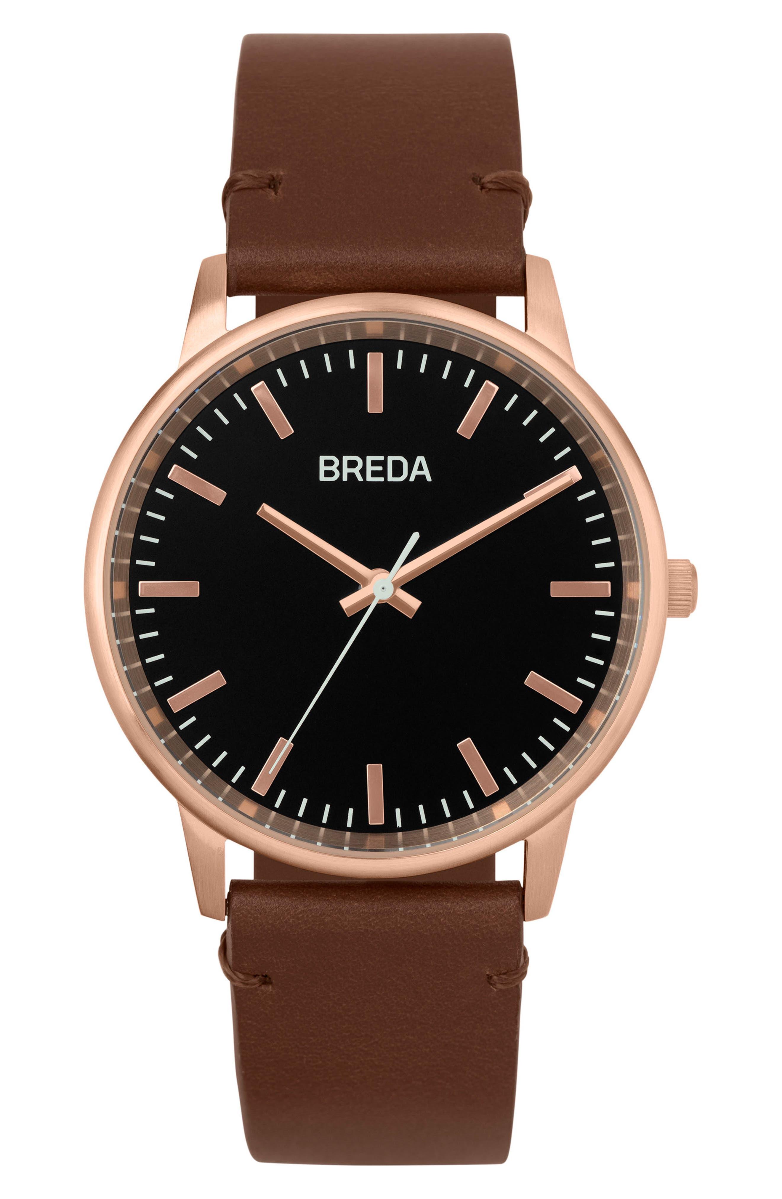BREDA Zapf Leather Strap Watch, 39mm
