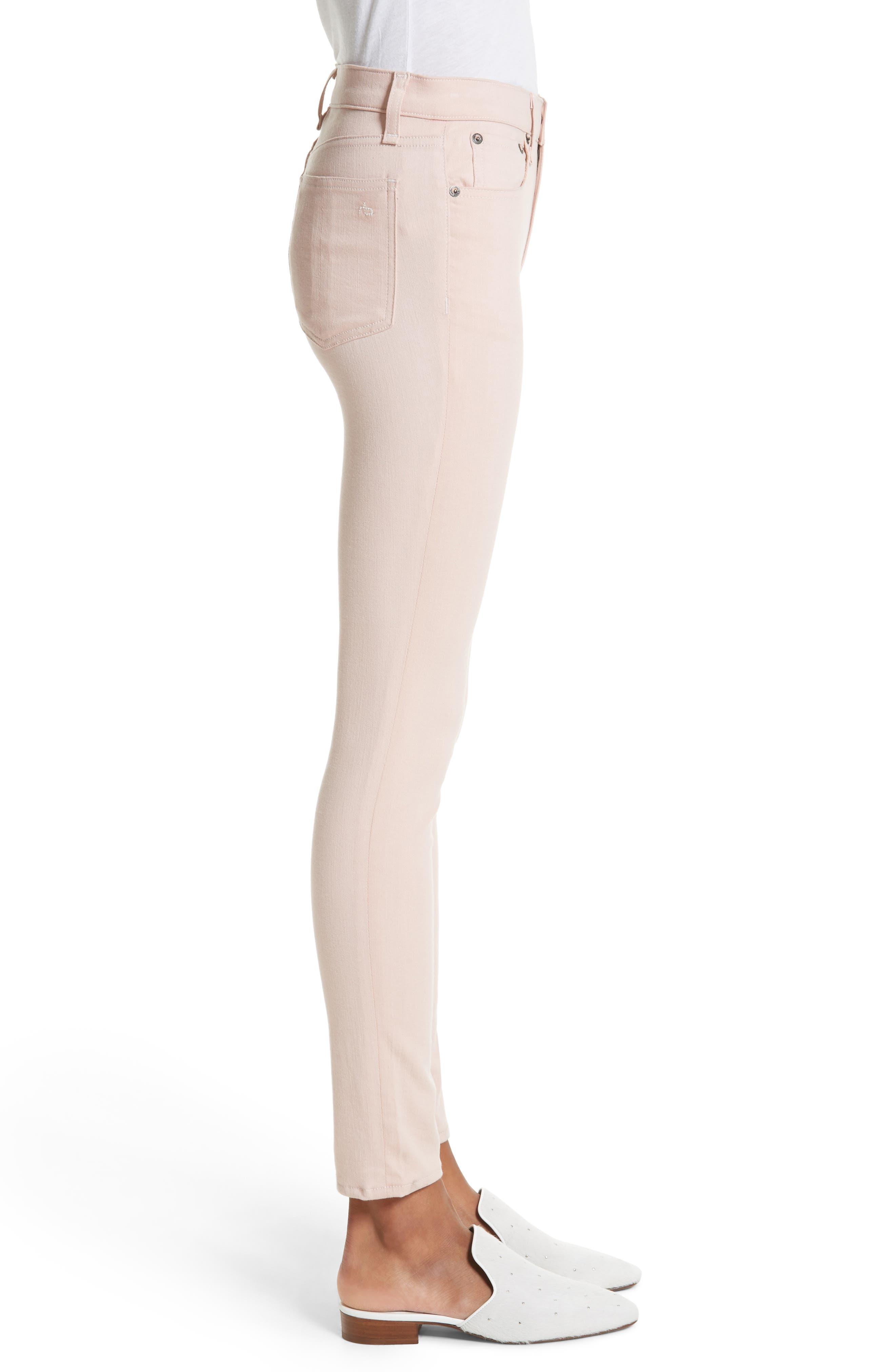 Alternate Image 3  - rag & bone/JEAN High Waist Ankle Skinny Jeans (Blush Twill)