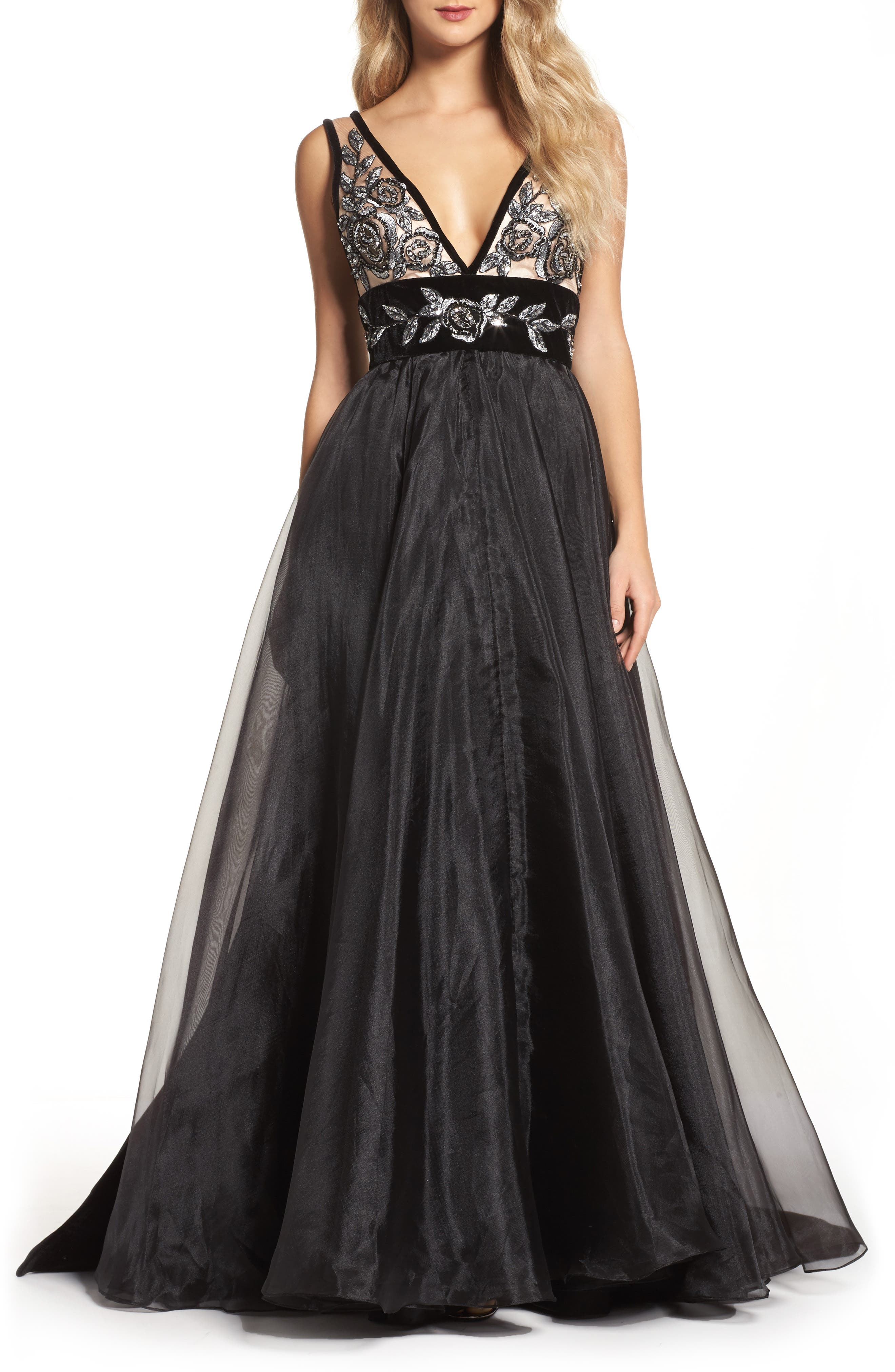 Embroidered Plunge Neck Ballgown,                         Main,                         color, Black