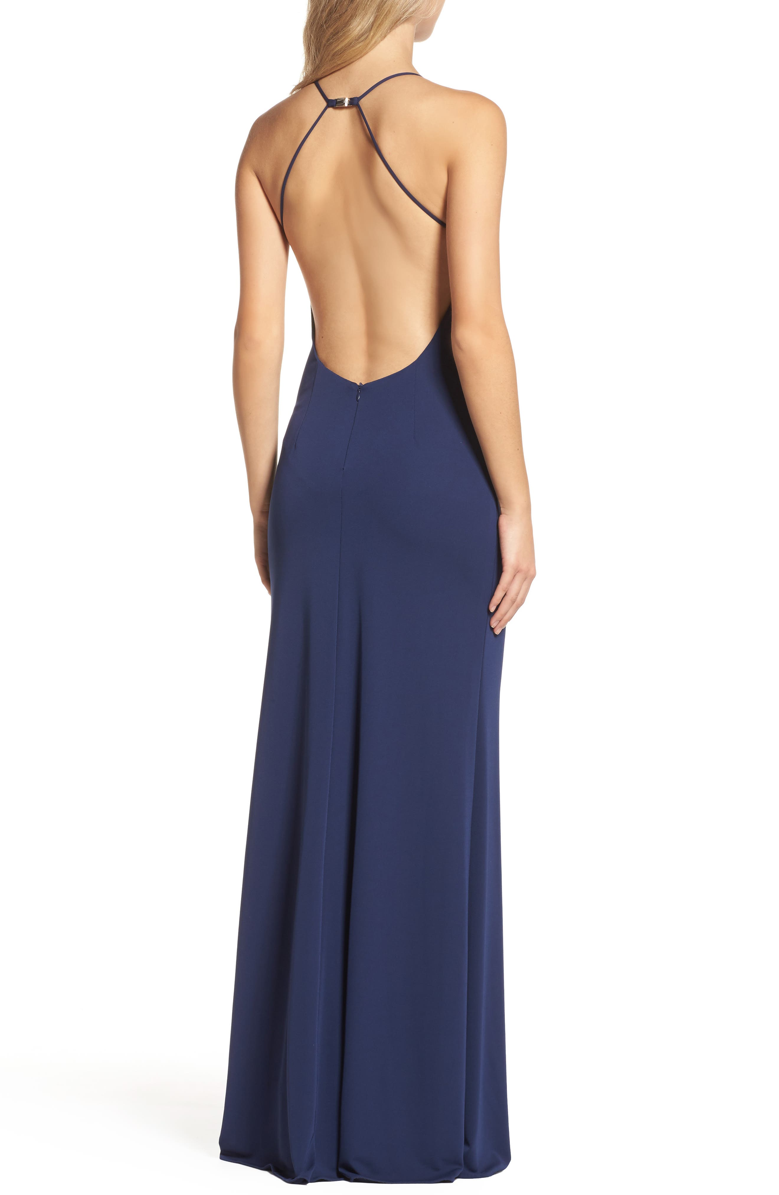 Victoria Sleeveless Gown,                             Alternate thumbnail 2, color,                             Navy