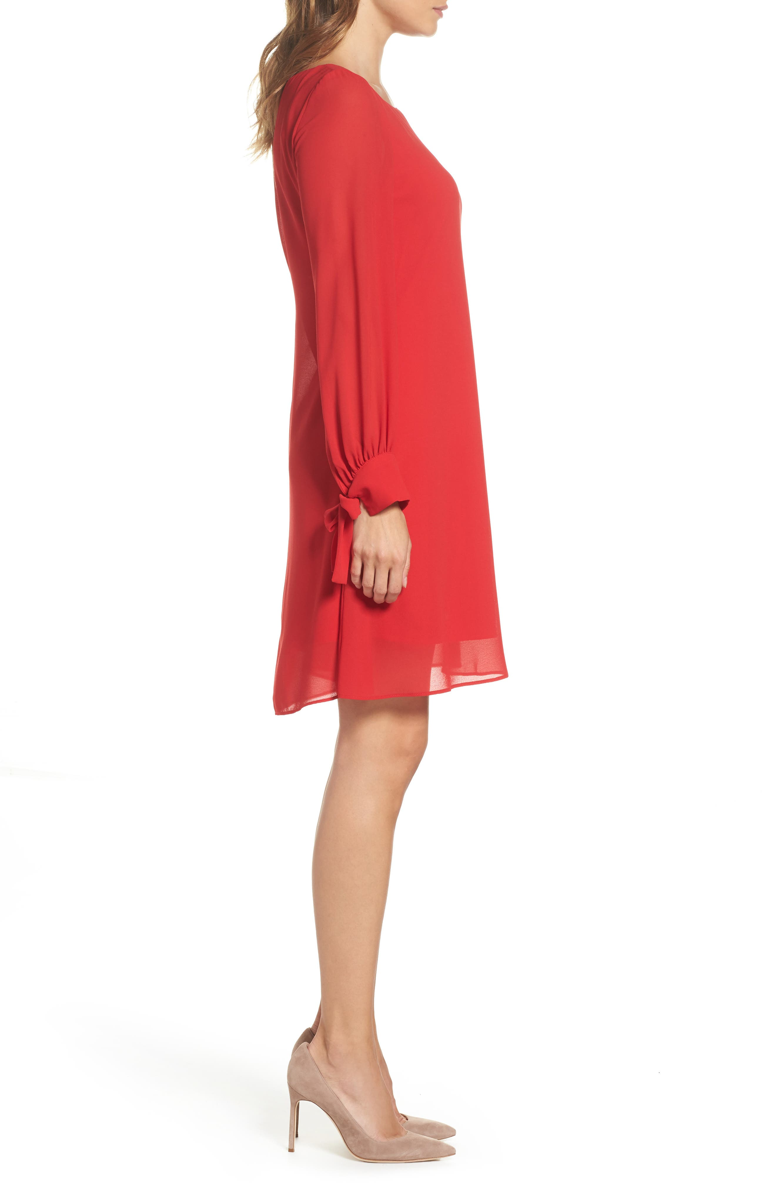 Souffle Chiffon Shift Dress,                             Alternate thumbnail 3, color,                             Crimson