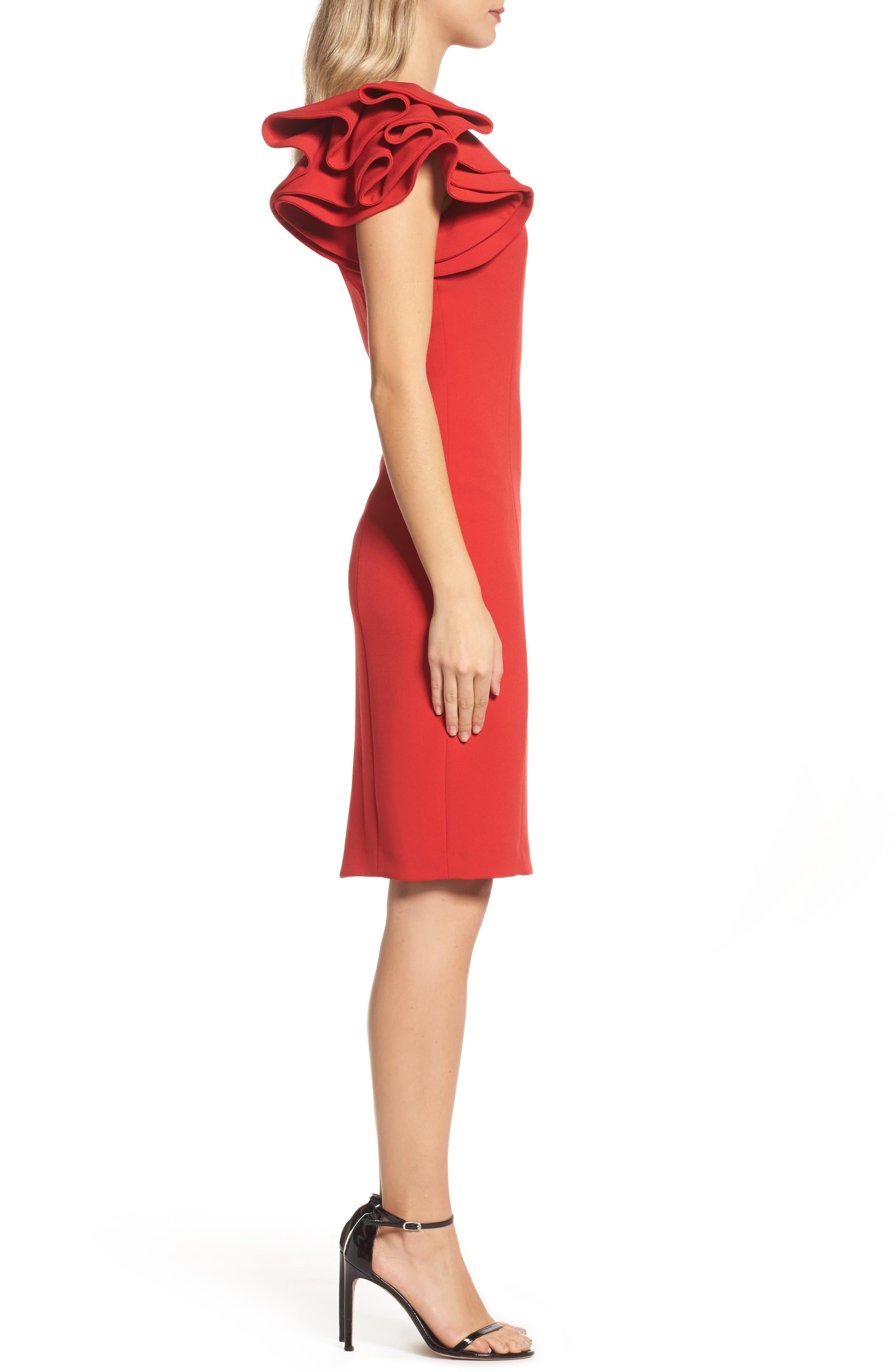 Ruffle Sleeve Sheath Dress,                             Alternate thumbnail 3, color,                             Red