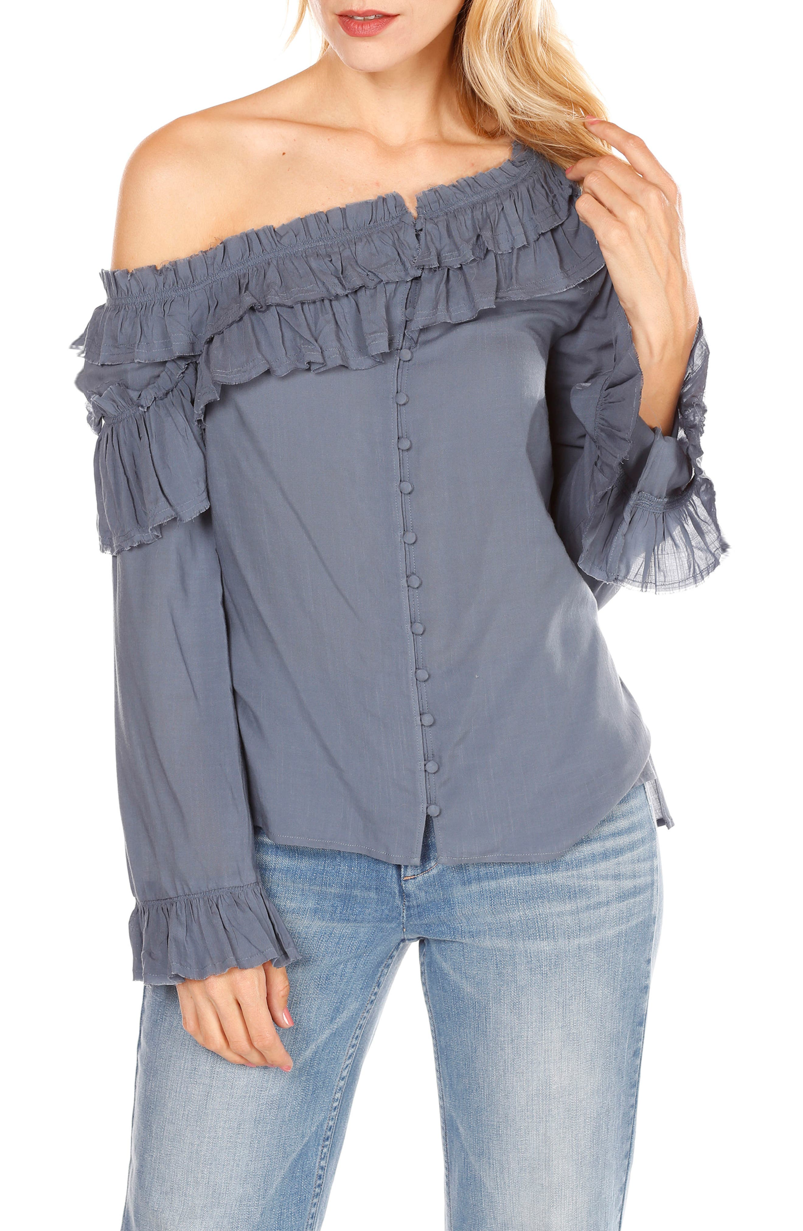 Augustina One-Shoulder Top,                         Main,                         color, China Blue