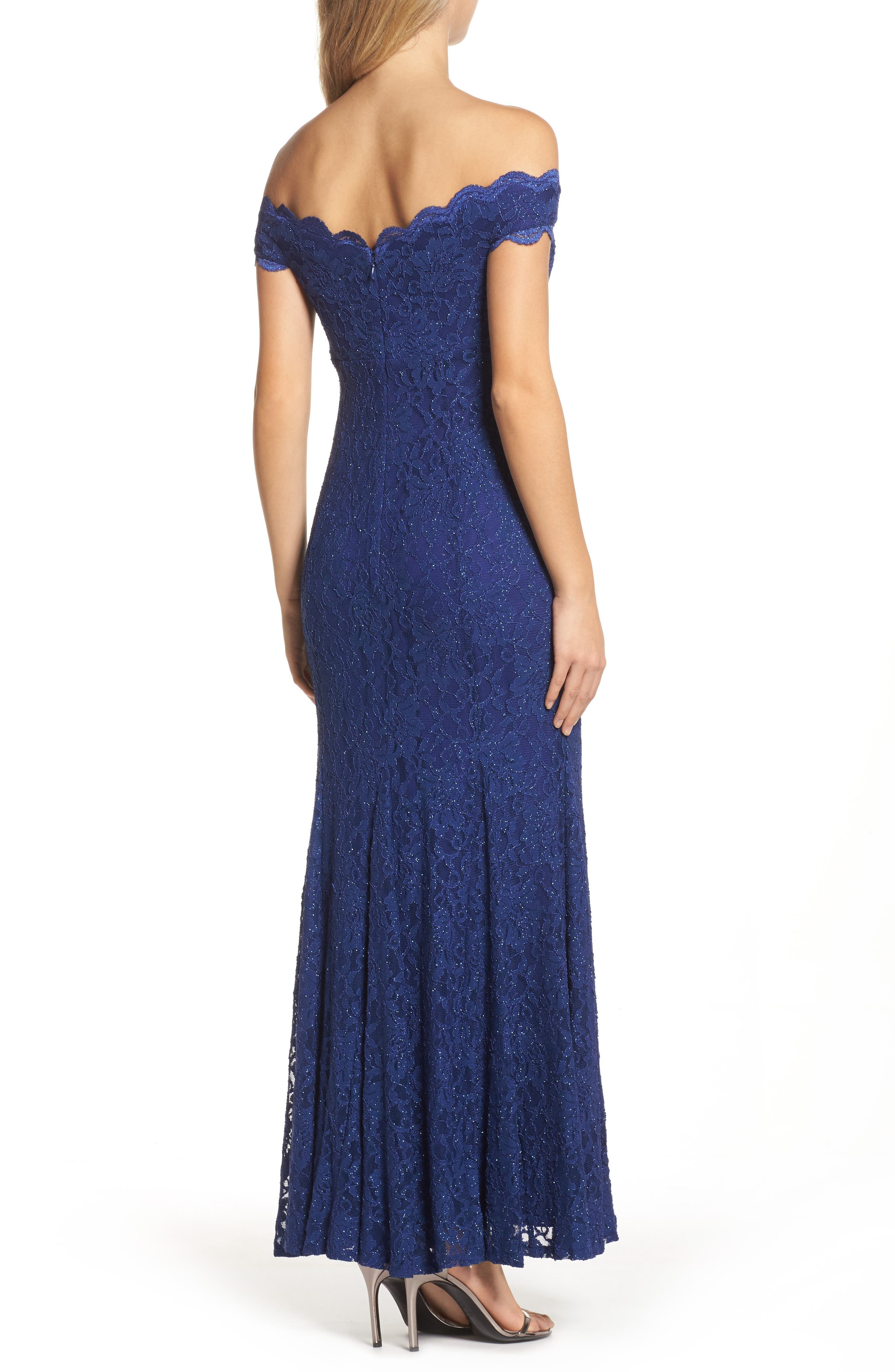 Alternate Image 2  - Morgan & Co. Scallop Off the Shoulder Lace Gown