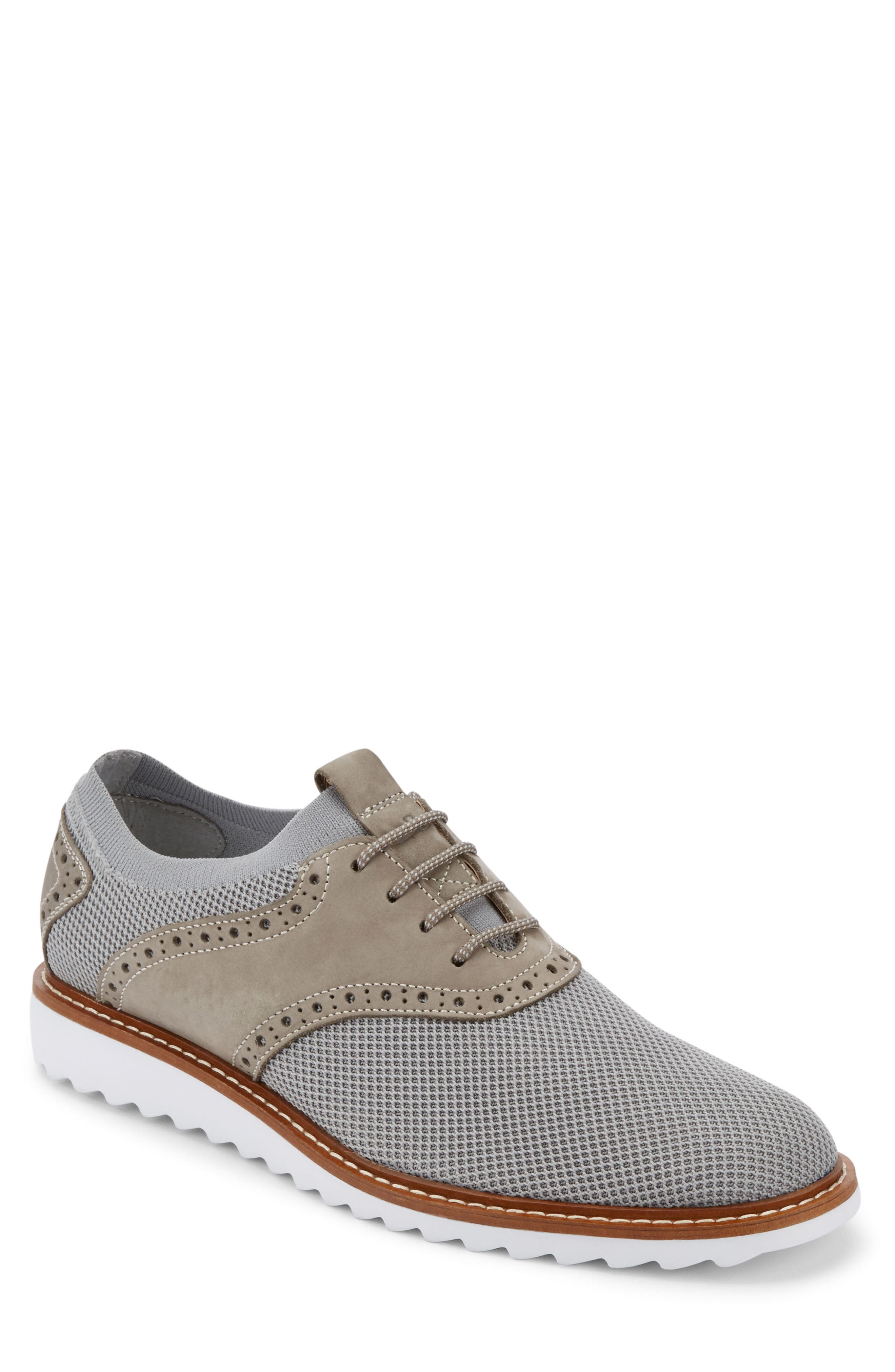 Buck 2.0 Saddle Shoe,                         Main,                         color, Light Grey Knit/ Nubuck