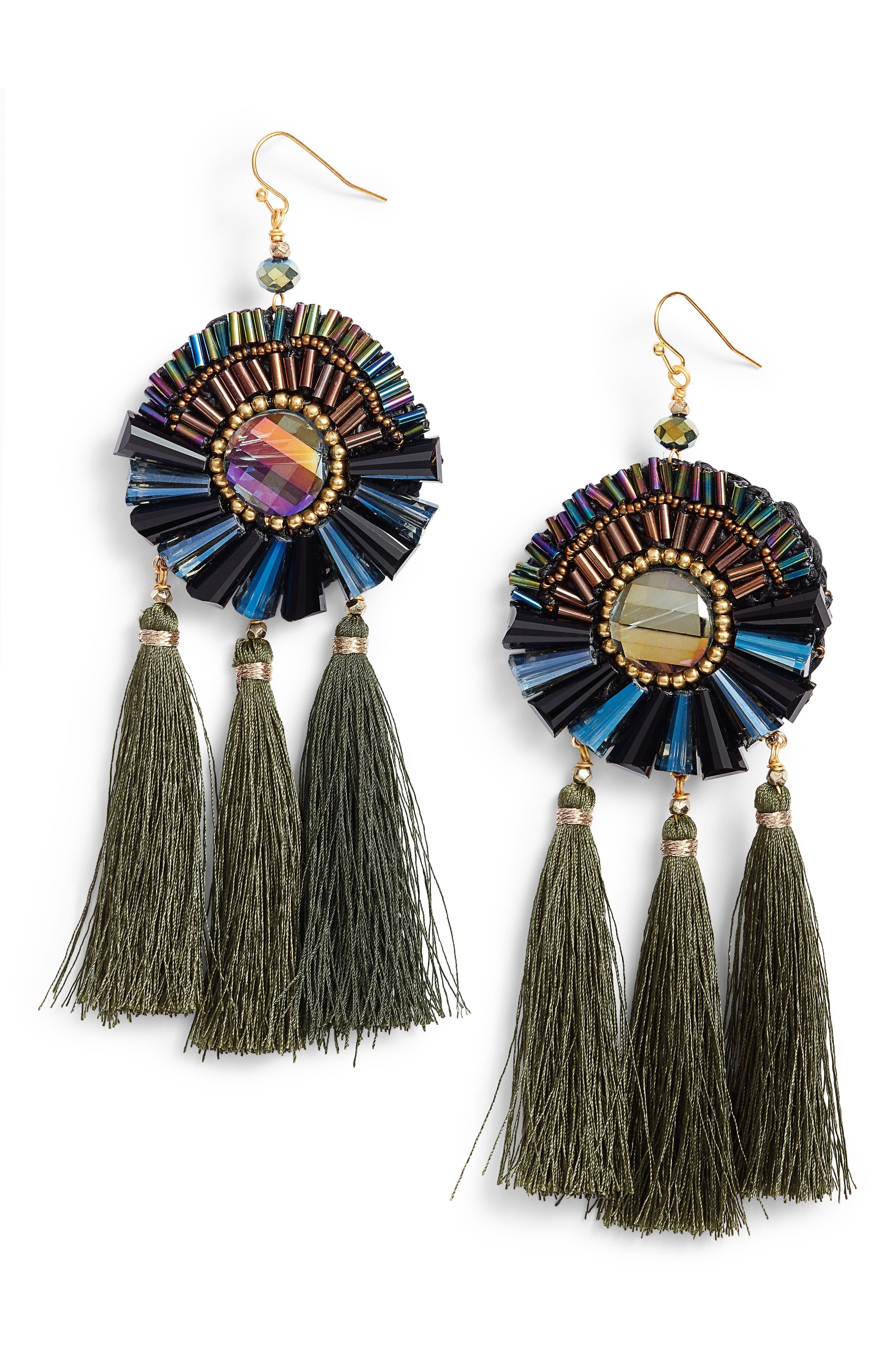 Tassel Statement Earrings,                         Main,                         color, Blue