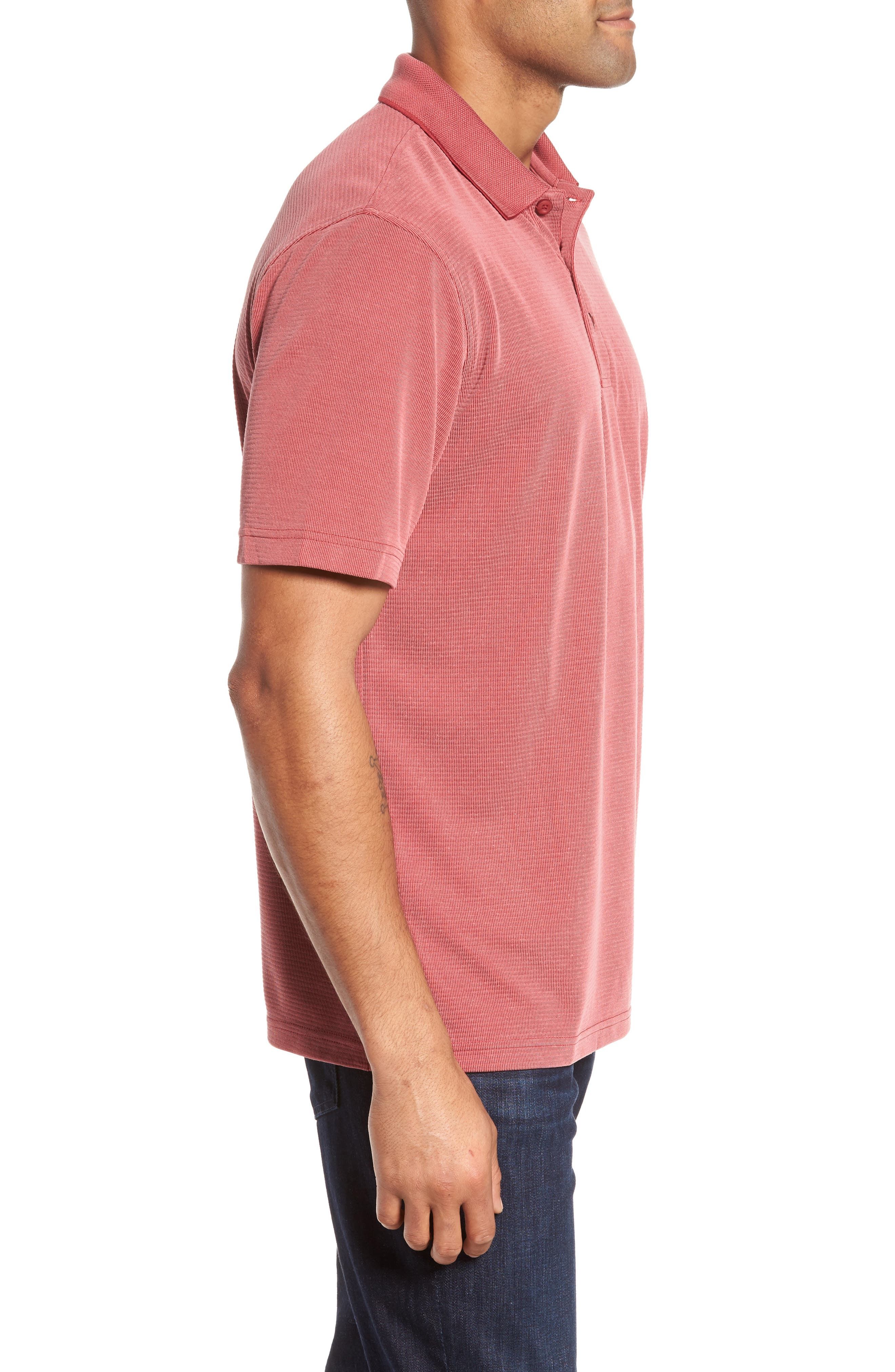 Short Sleeve Polynosic Polo,                             Alternate thumbnail 3, color,                             Ruby