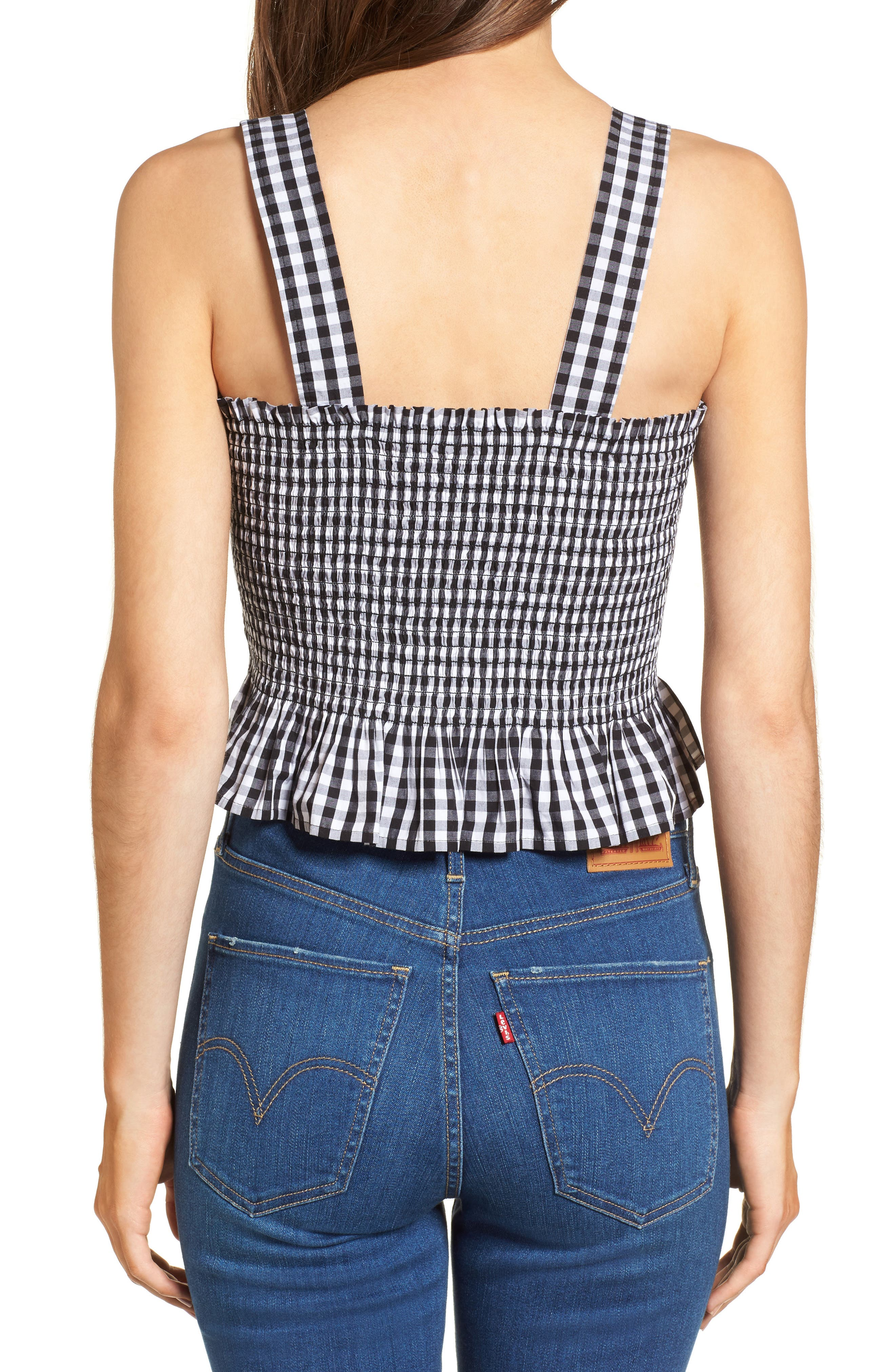 Smocked Gingham Crop Tank,                             Alternate thumbnail 2, color,                             Black Lexi Gingham