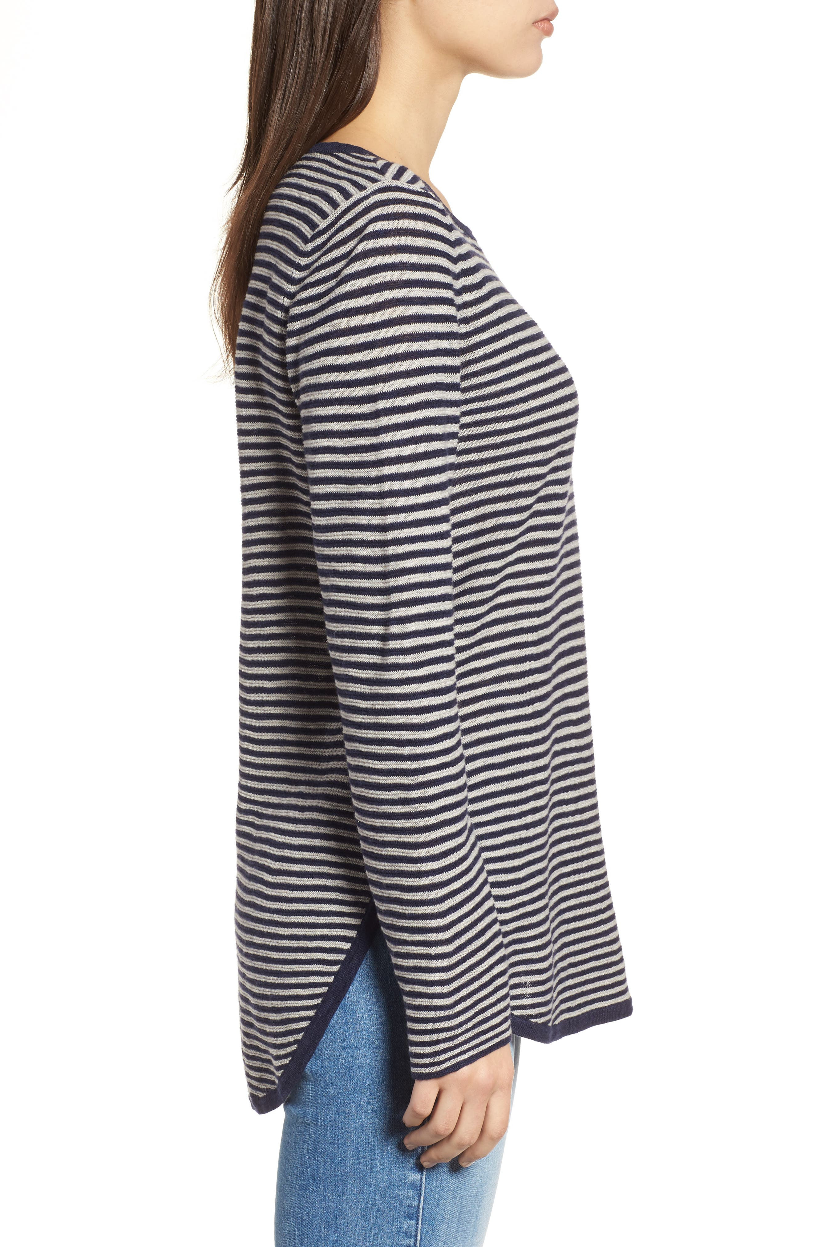 Stripe Organic Linen & Cotton Sweater,                             Alternate thumbnail 3, color,                             Midnight