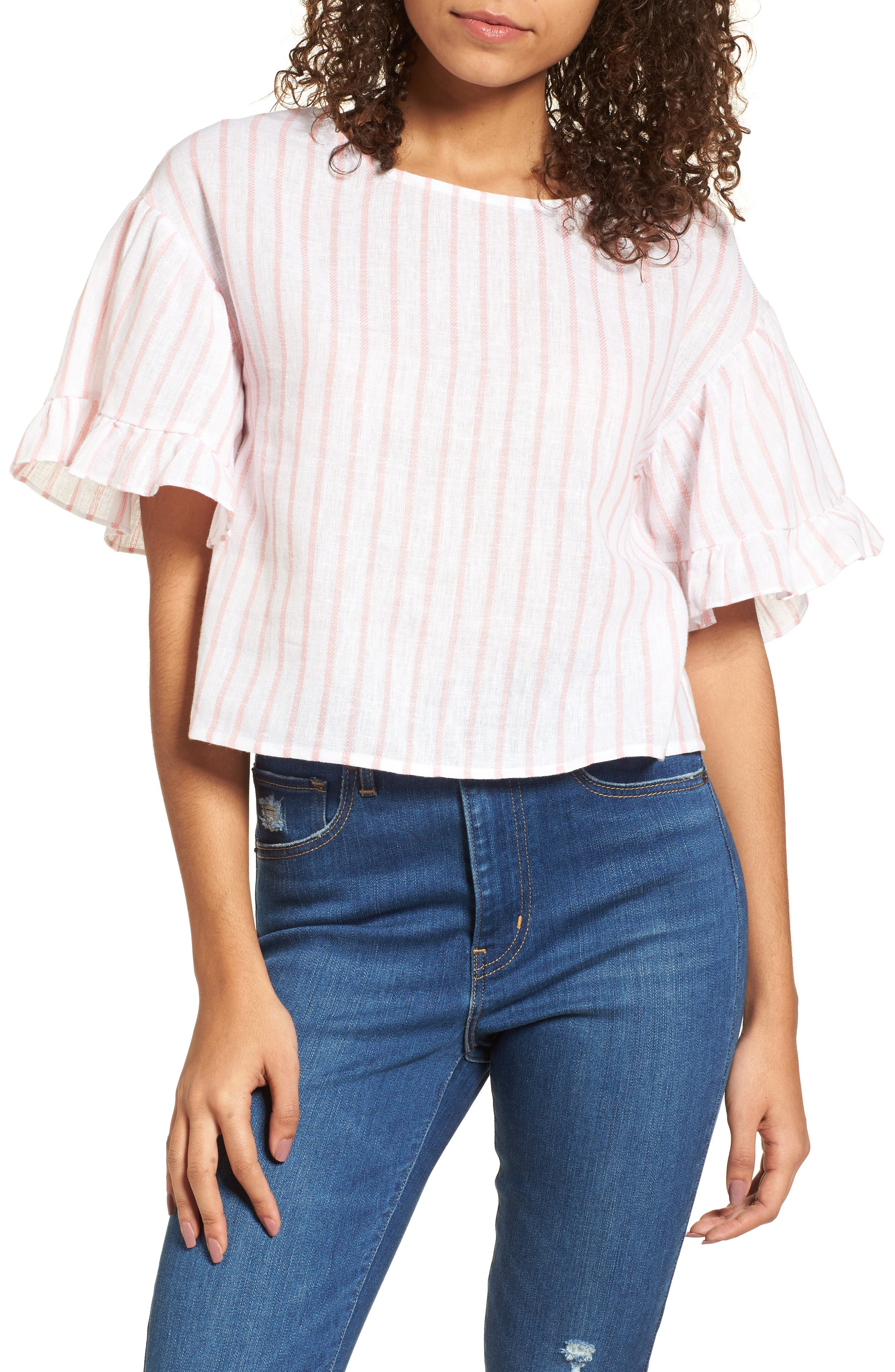Ruffle Sleeve Linen Blend Crop Top,                             Main thumbnail 1, color,                             Pink Breath Katie Stripe