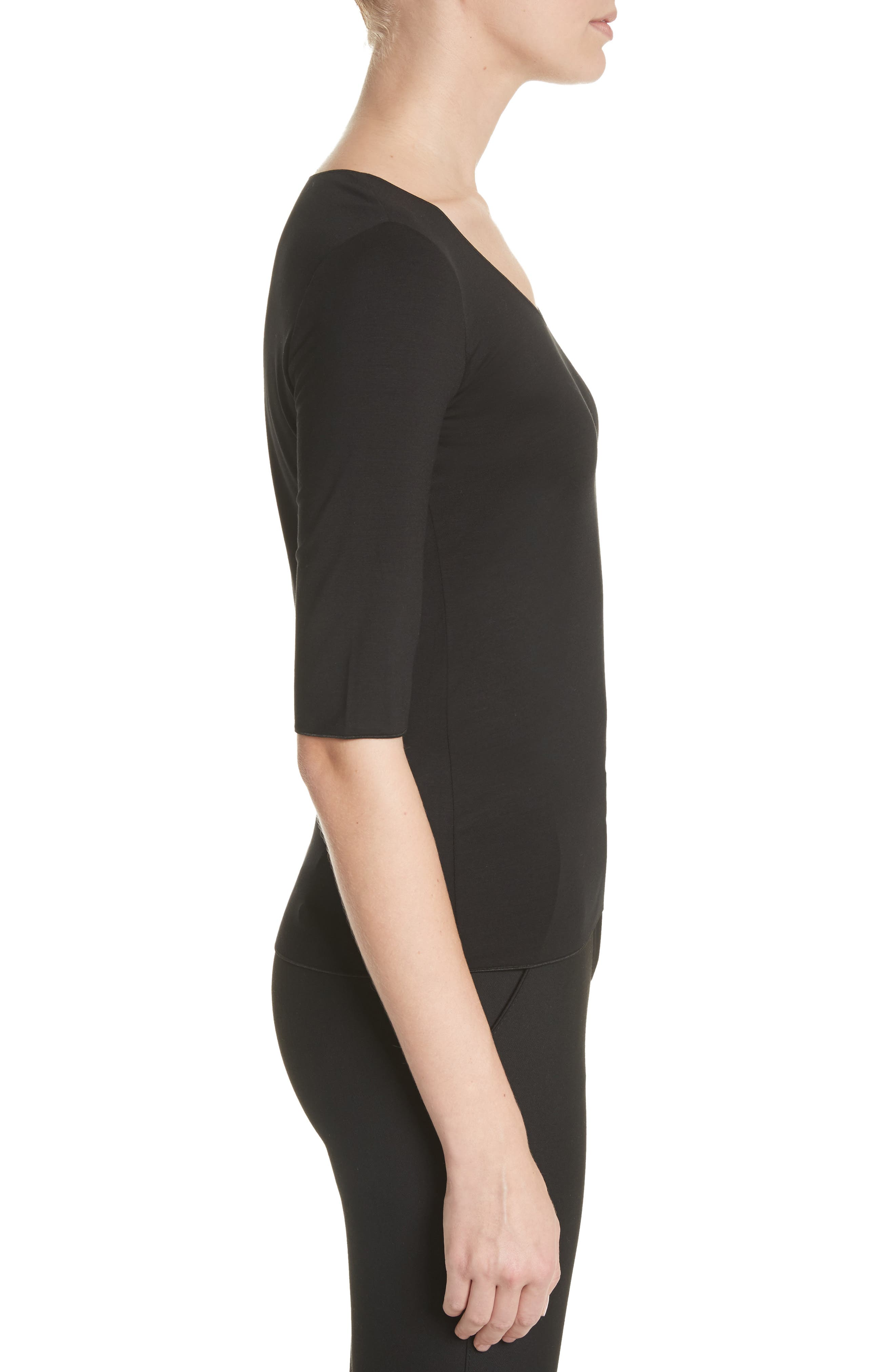 Stretch Knit Top,                             Alternate thumbnail 3, color,                             Black